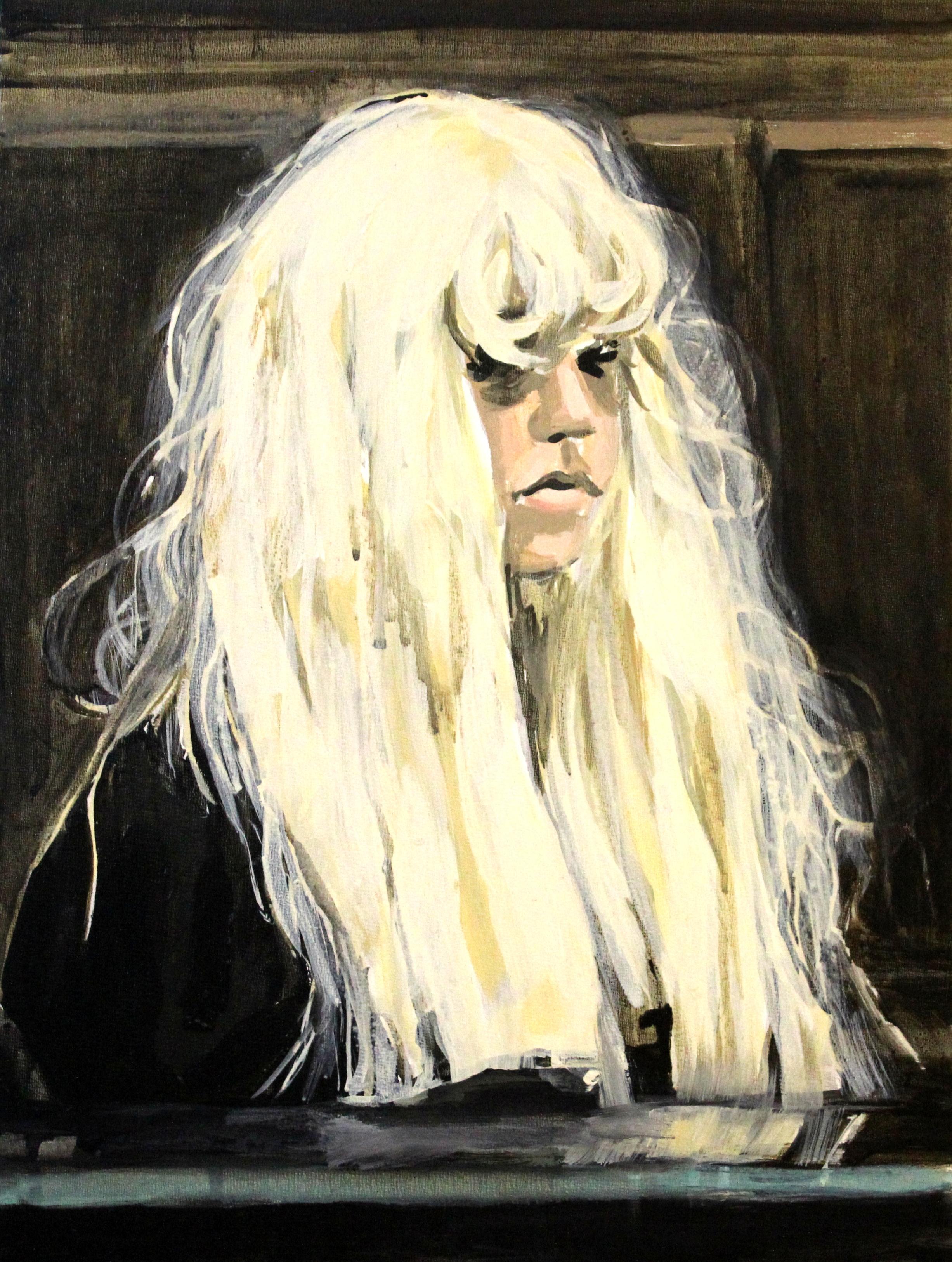 "Amanda Bynes Wearing a Wig in Court   12"" x 16"" acrylic on panel"