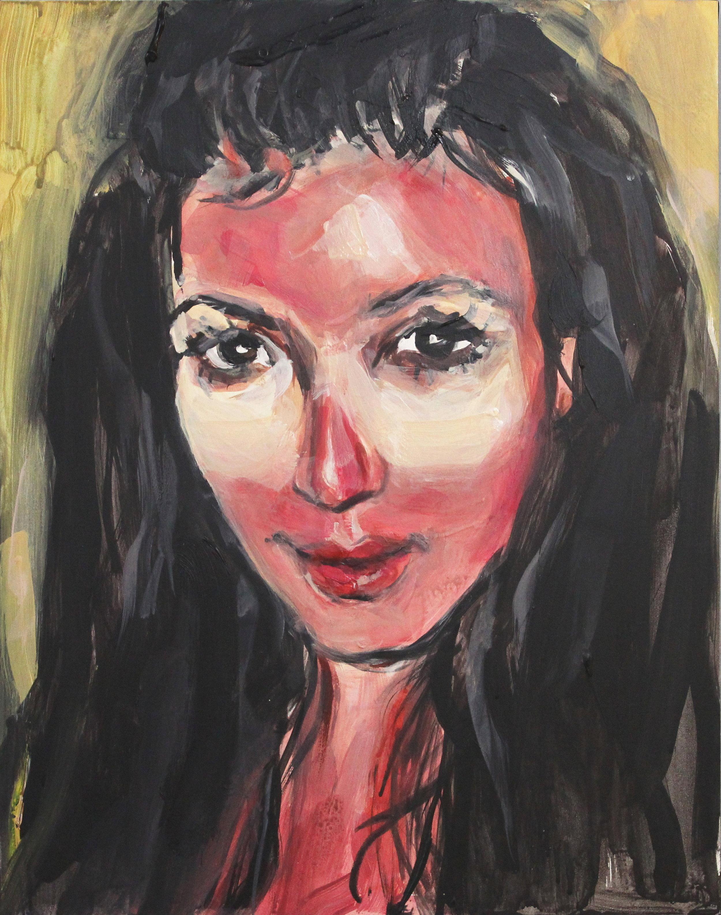 "Kim Kardashian With a Sunburn  11"" x 14"" acrylic on panel"