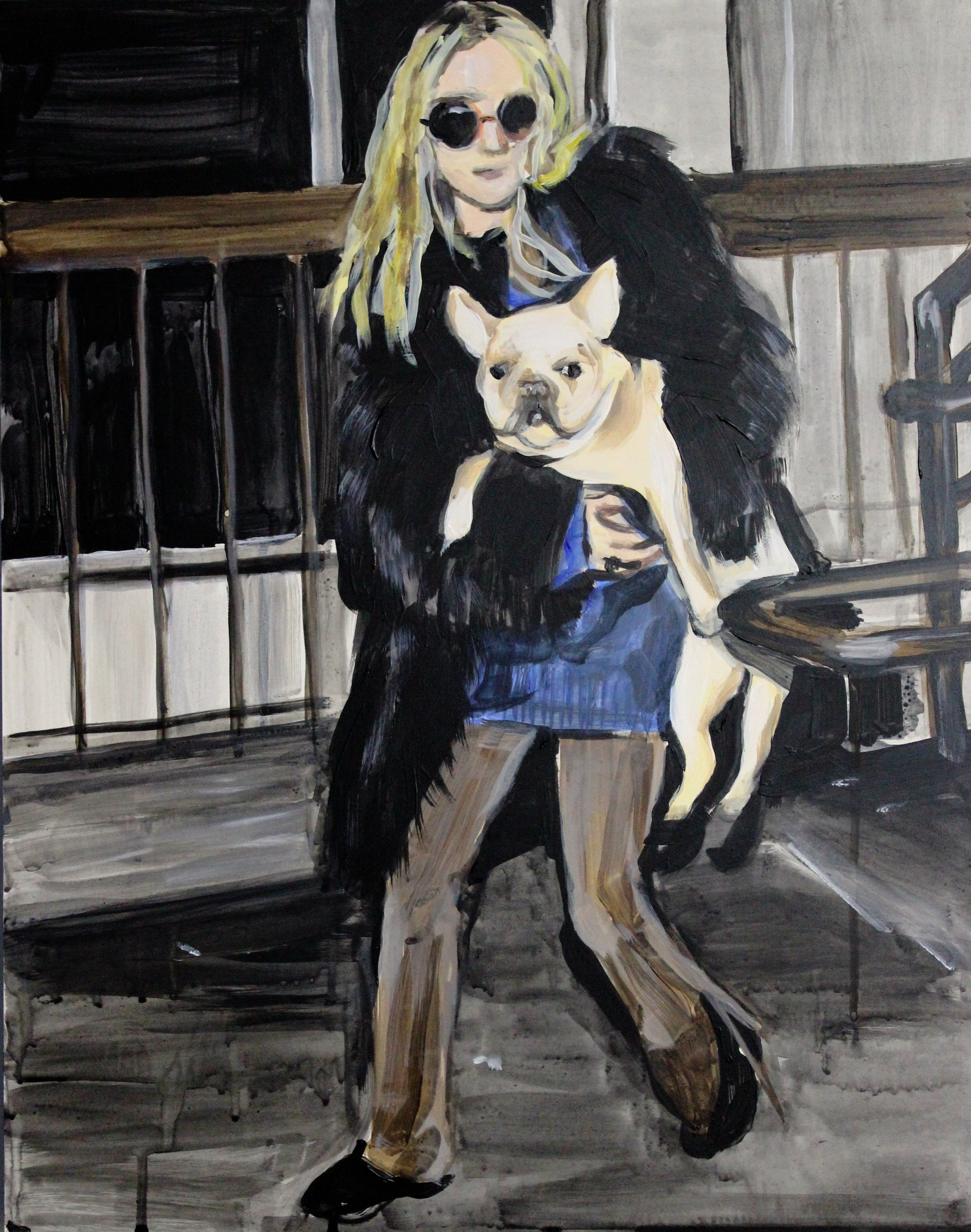"""An Olsen Twin Hiding Behind A French Bulldog   16"""" x 20"""" acrylic on panel   SOLD"""