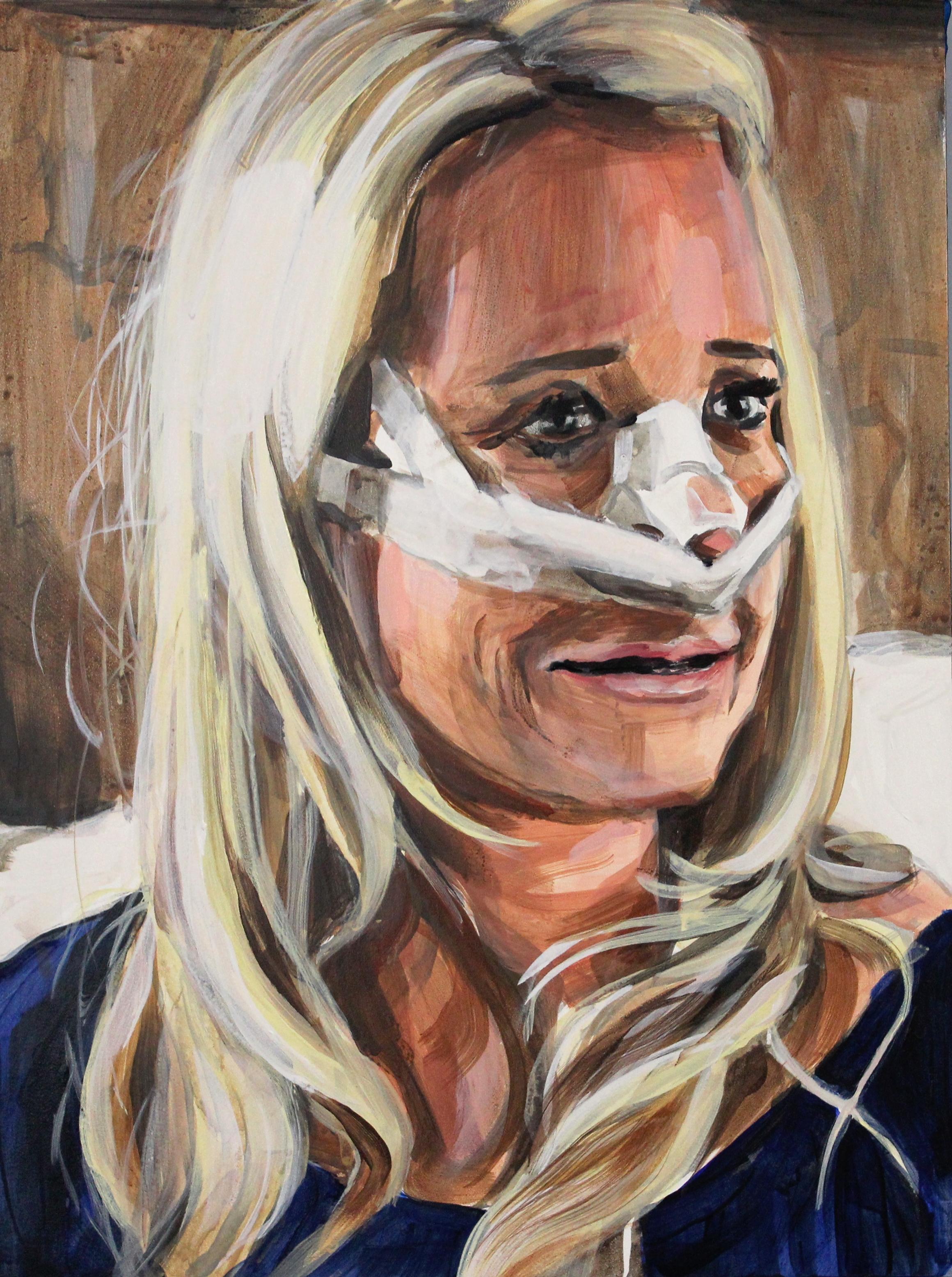 """Kim Richards Post Nose Job   12"""" x 16"""" acrylic on panel"""