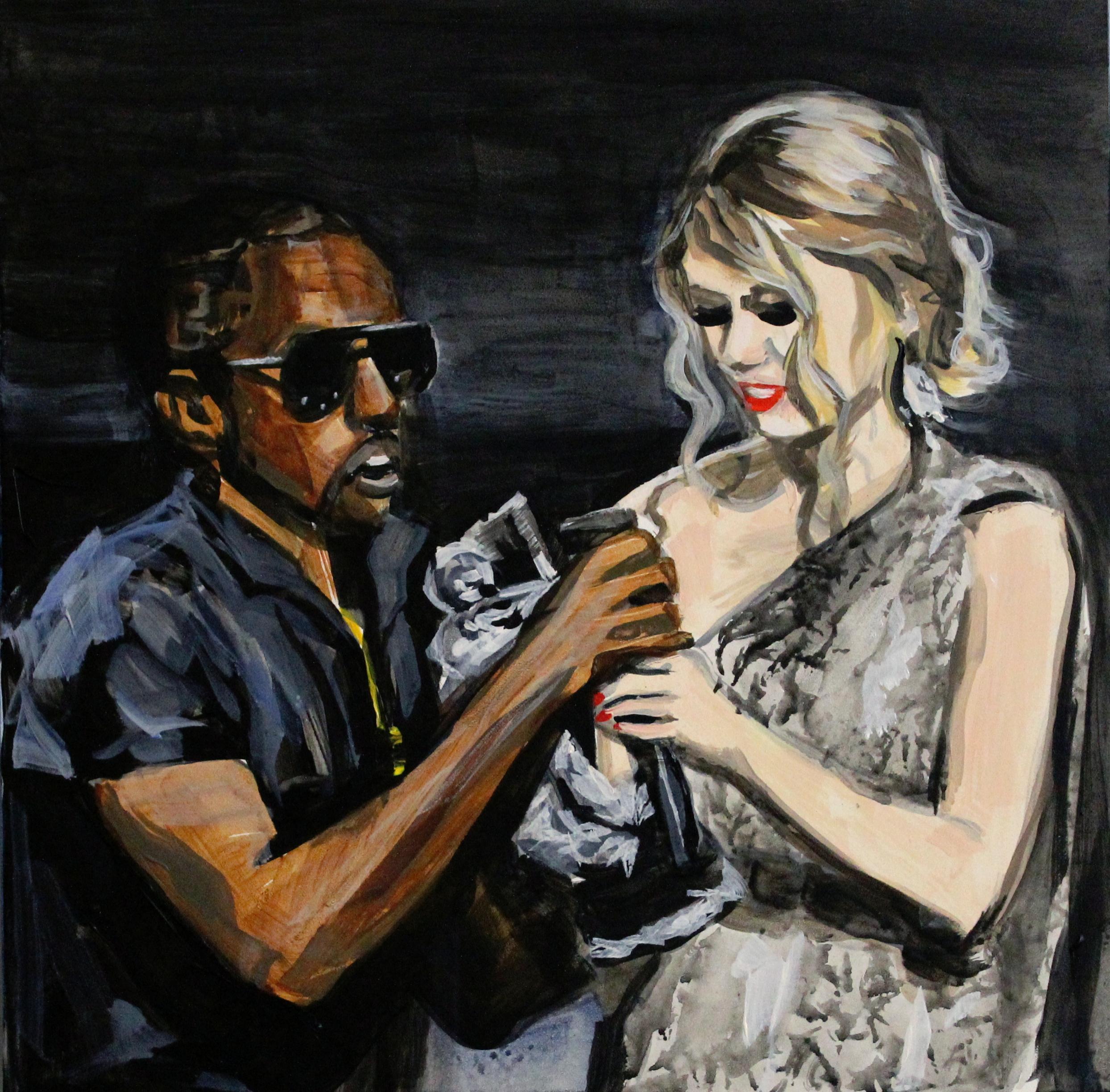 "Kanye West Interrupting Taylor Swift  12"" x 12"" acrylic on panel   SOLD"