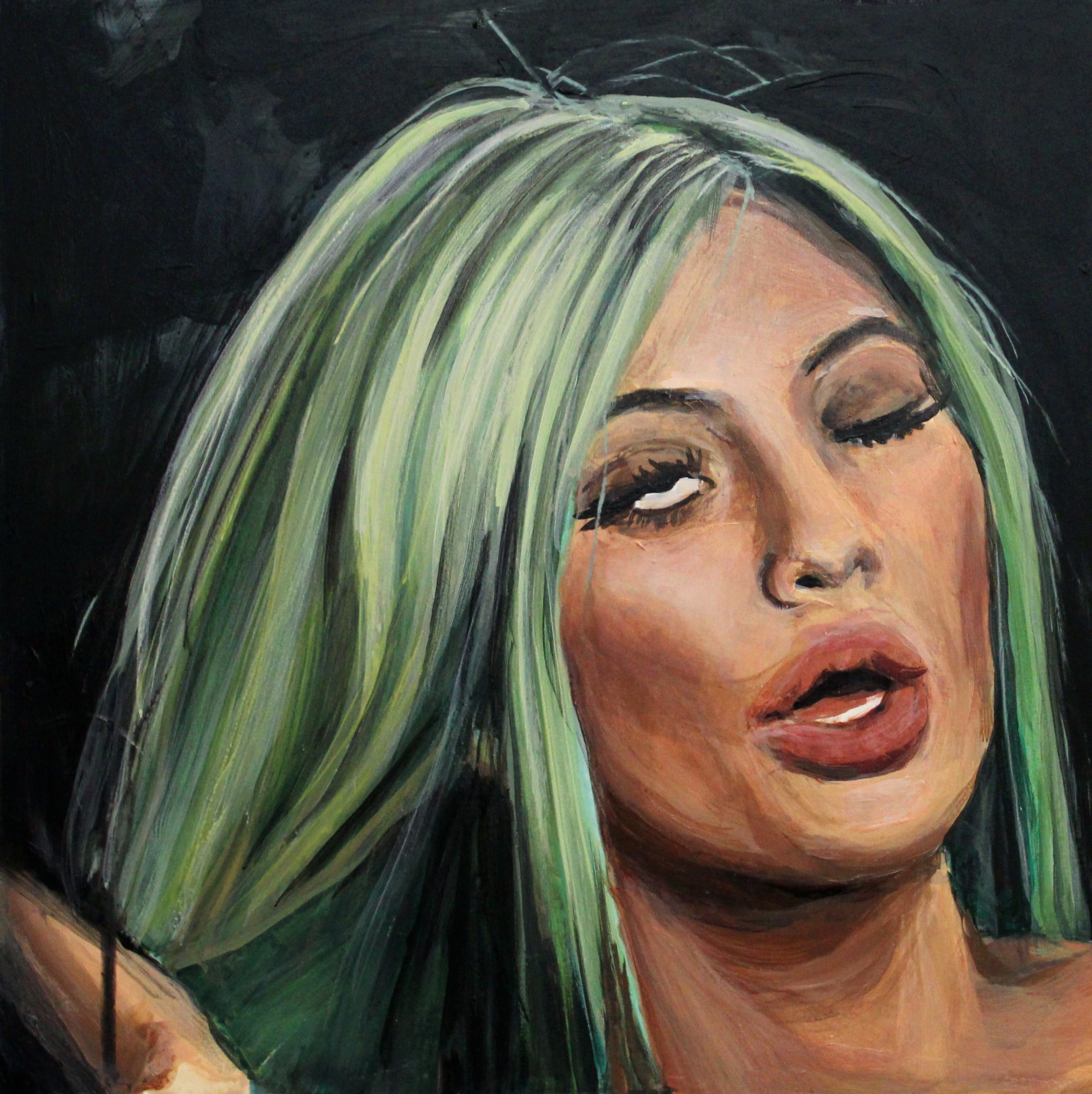 """Kylie Jenner Winking   12"""" x 12"""" acrylic on panel   SOLD"""