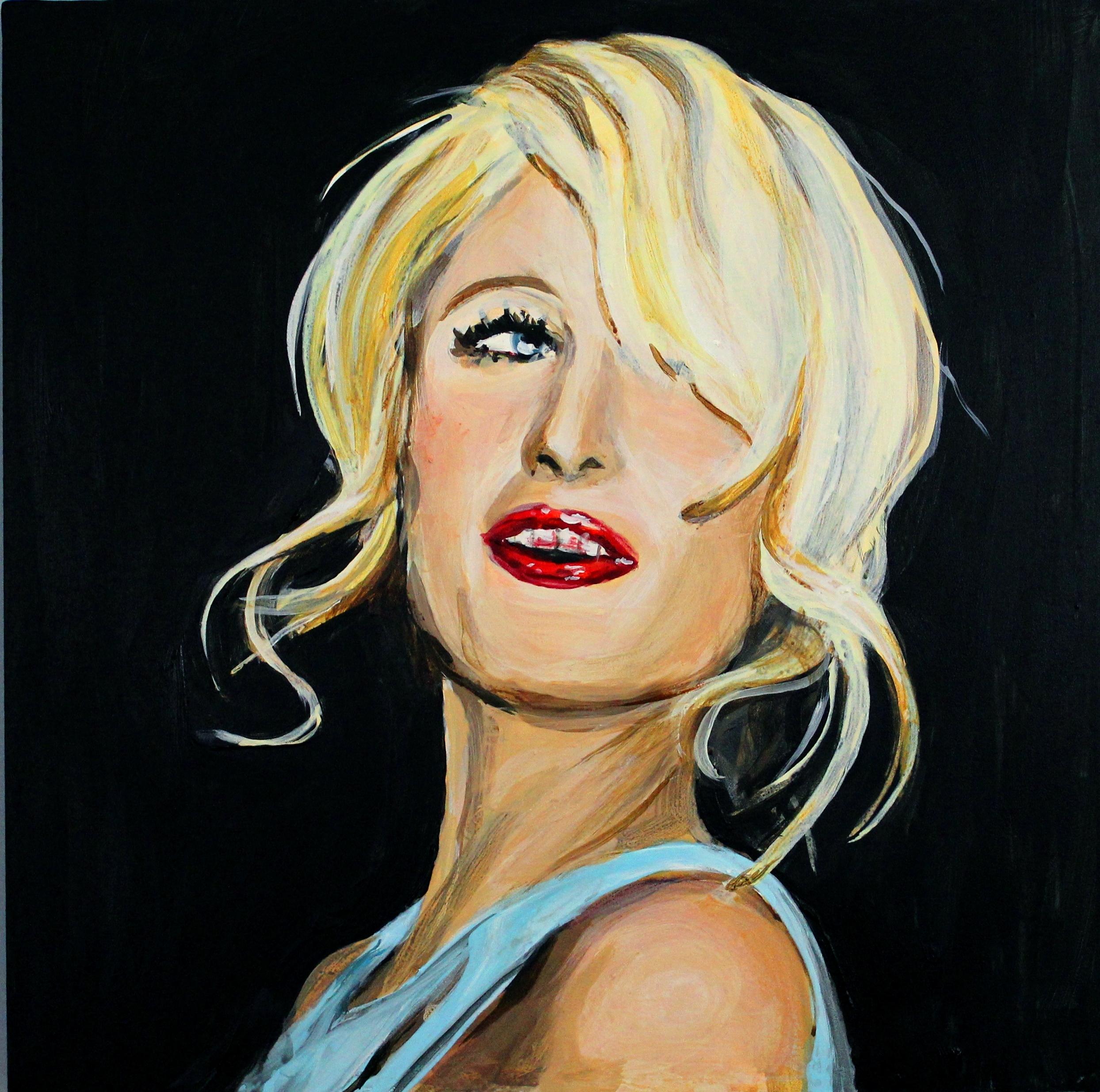 "Paris Hilton With Lipstick on Her Teeth   12"" x 12"" acrylic on panel   SOLD"