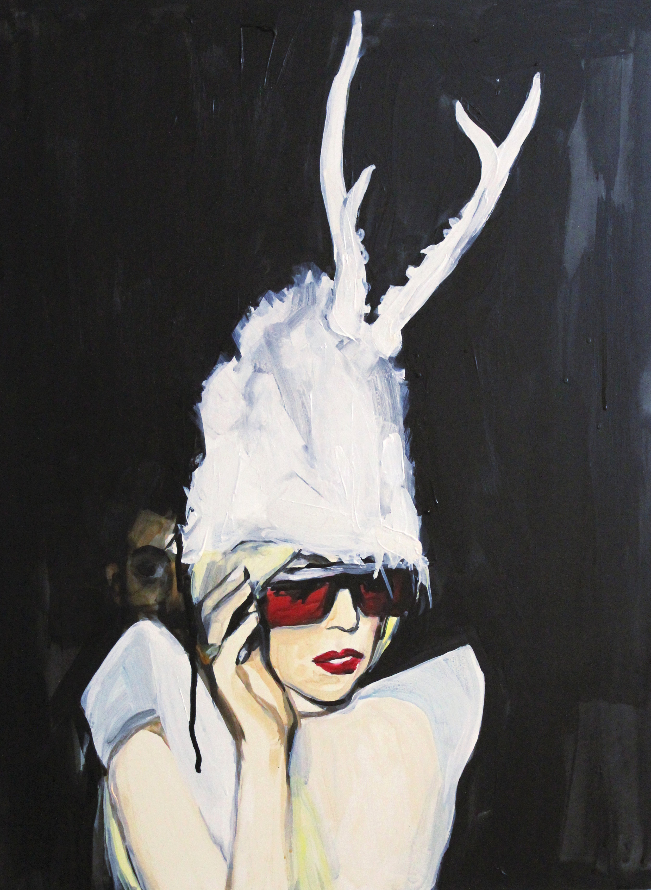 """Lady Gaga in a White Fur Antler Hat   18"""" x 24"""" acrylic on panel"""