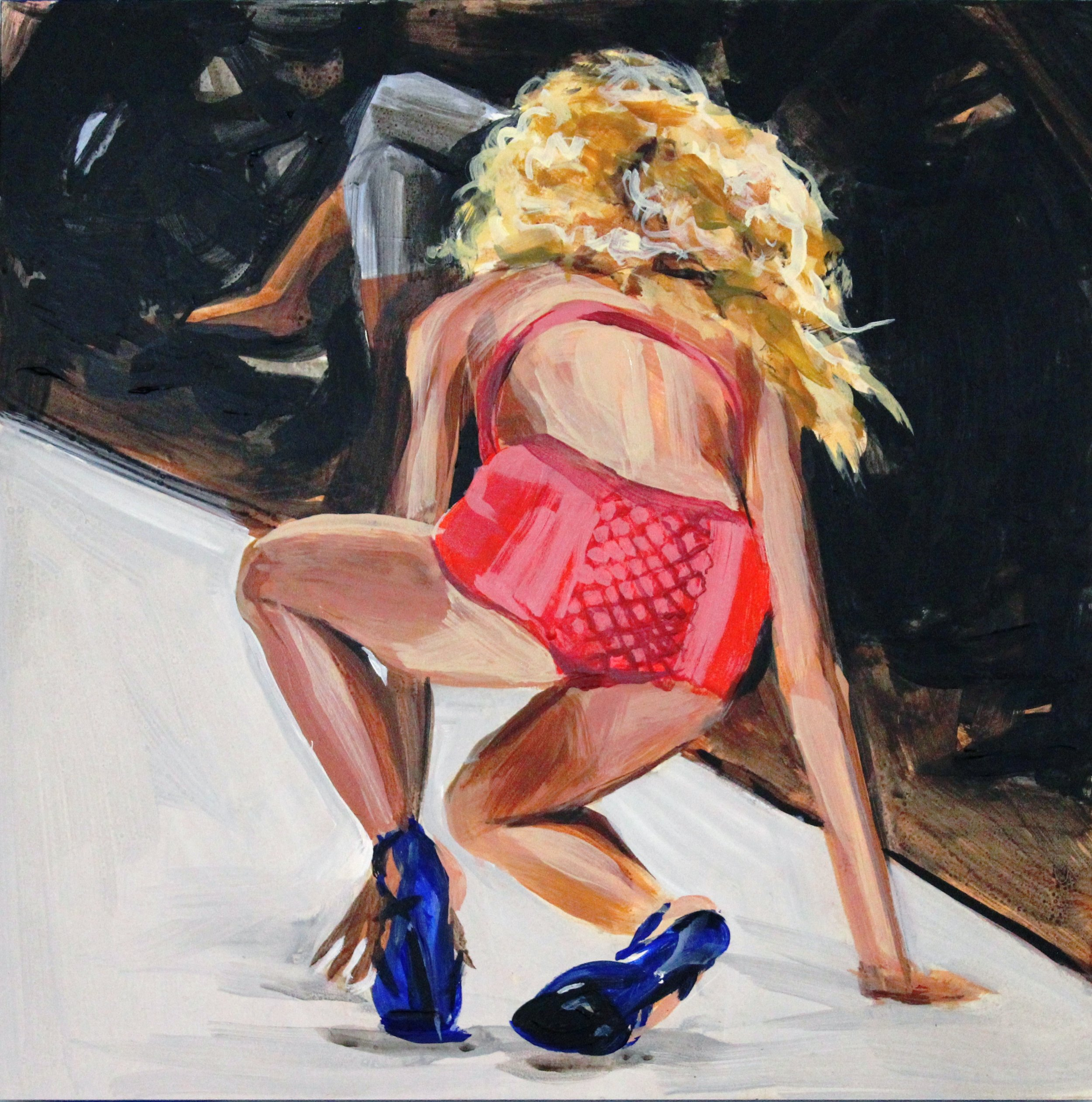 "Runway Model Falling no.9 (during Portugal Fashion show)  12"" x 12"" acrylic on panel   SOLD"