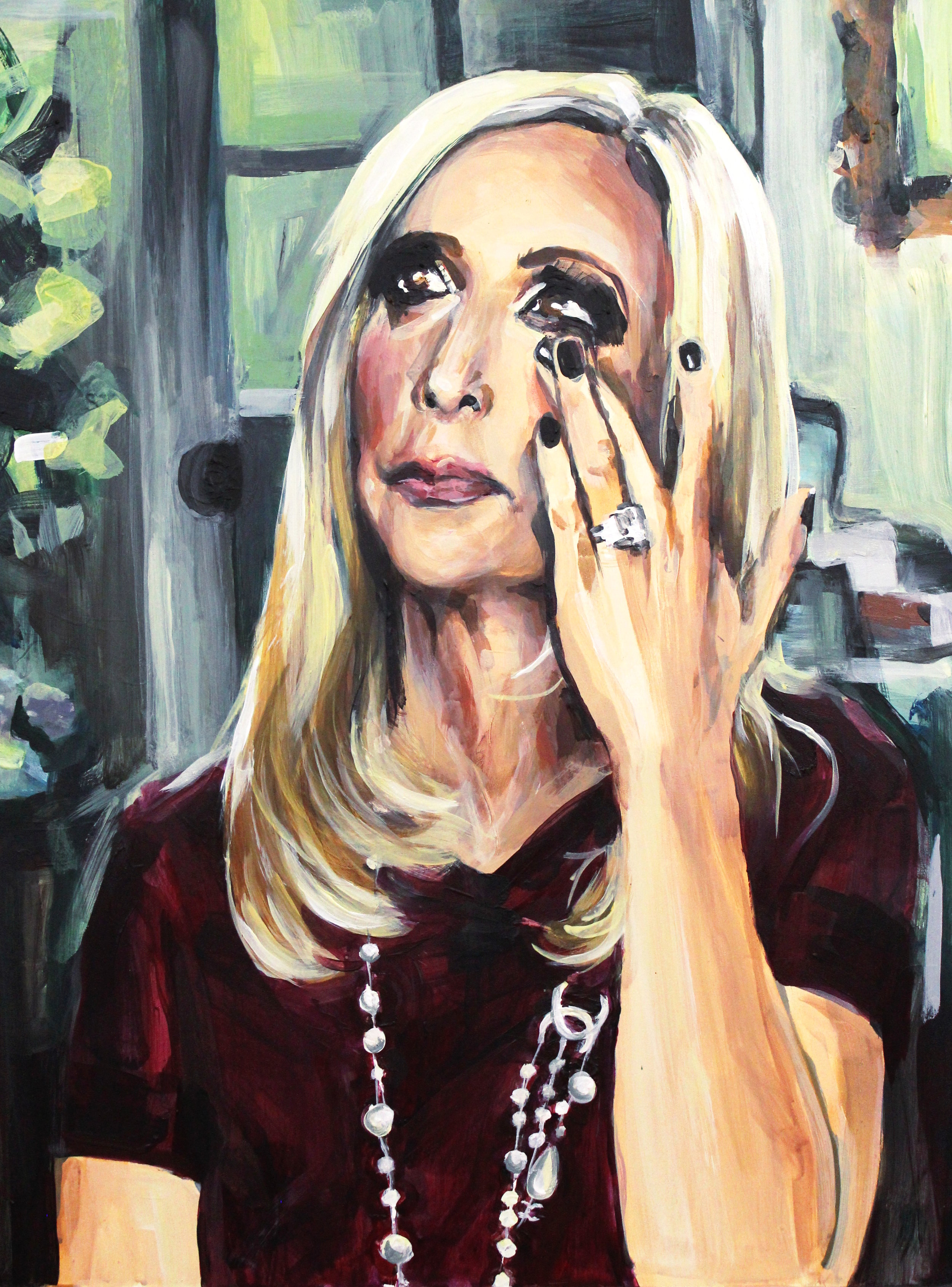 "Grieving Madonna   18"" x 24"" acrylic on panel"
