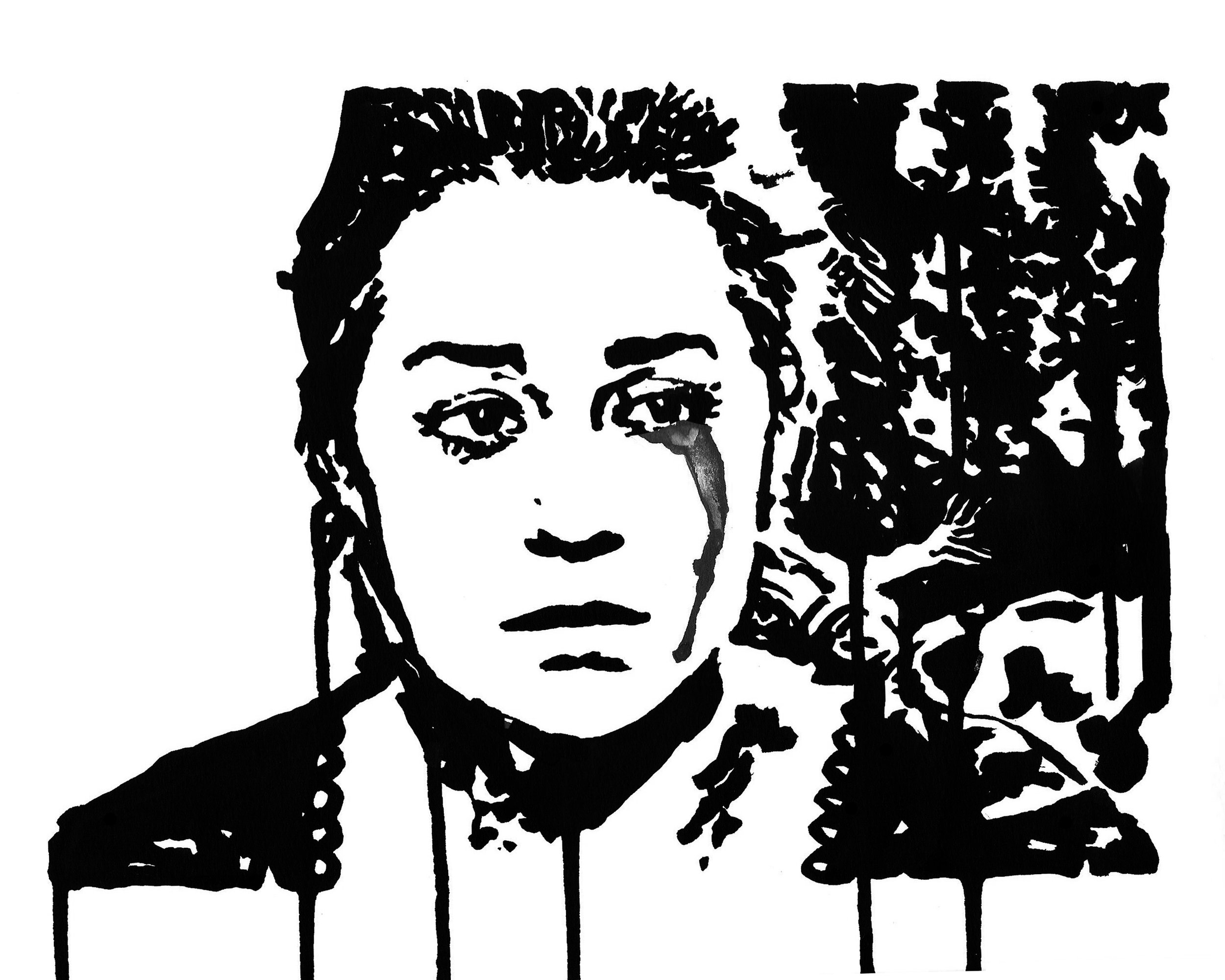 "Lauren Conrad Crying  9"" x 12"" ink on paper"