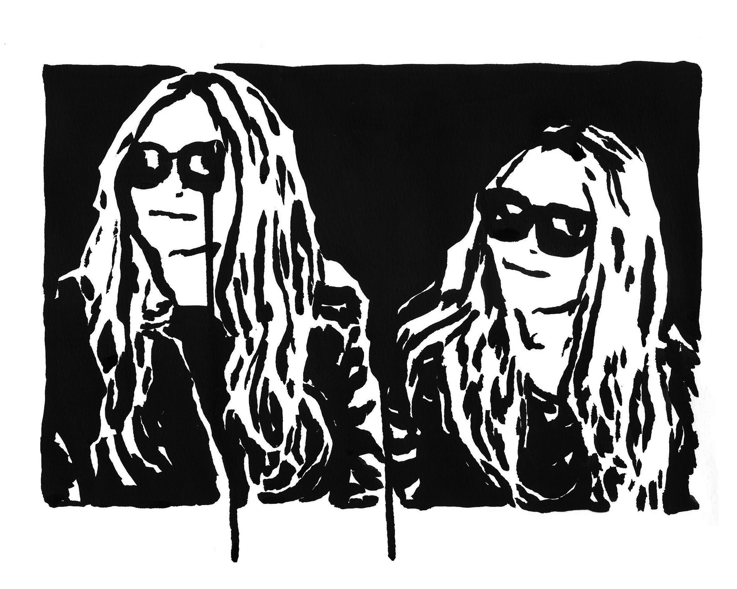 "Olsen Twins  9"" x 12"" ink on paper   SOLD"