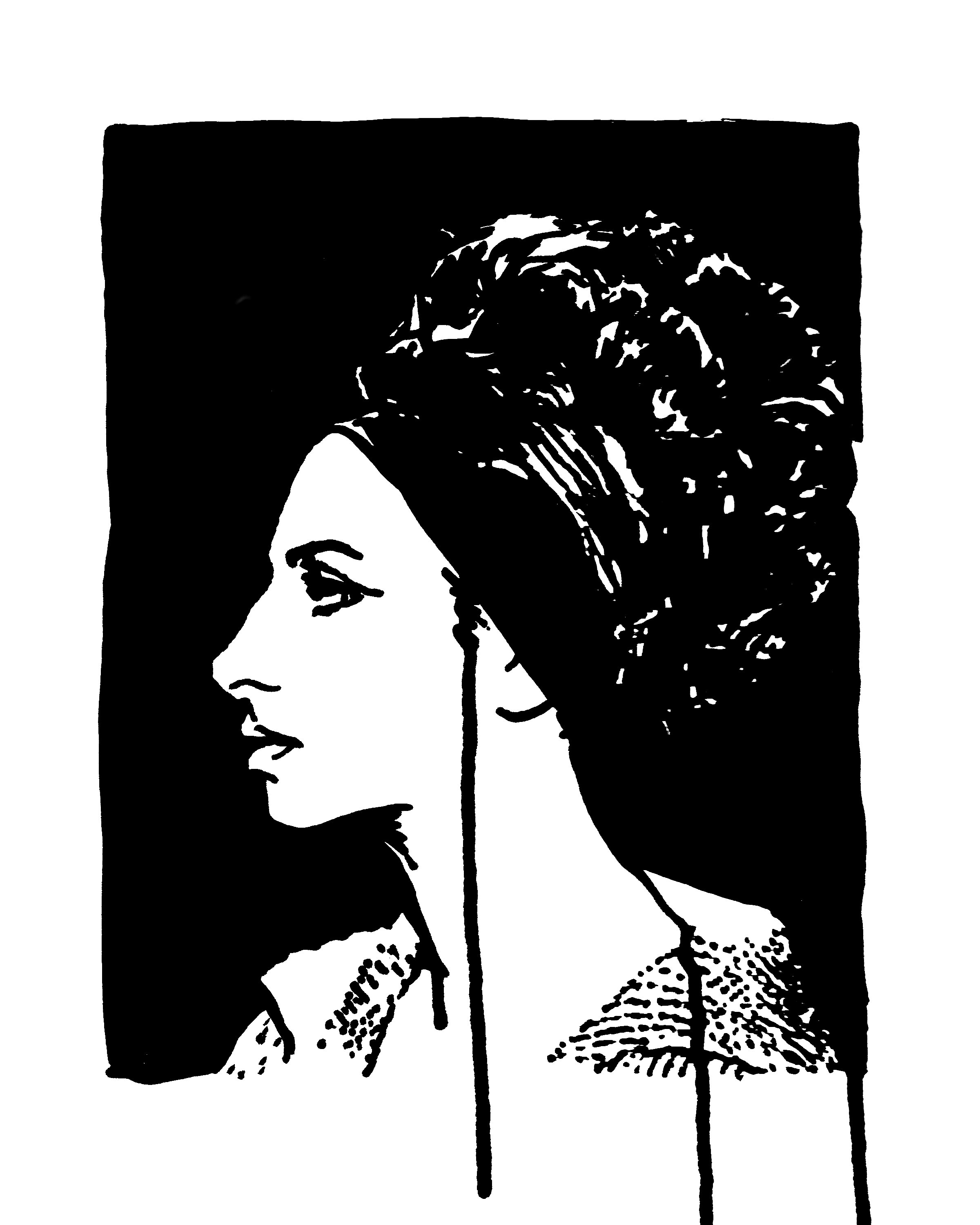 "Barbara Streisand Profile   9"" x 12"" ink on paper"