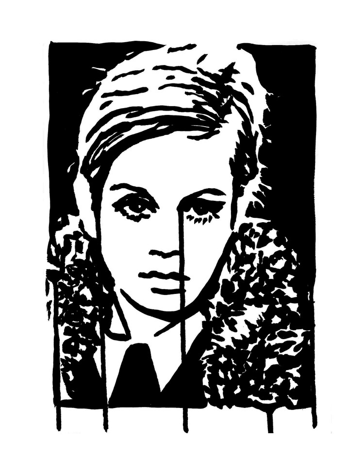 "Twiggy In Fur   9"" x 12"" ink on paper"
