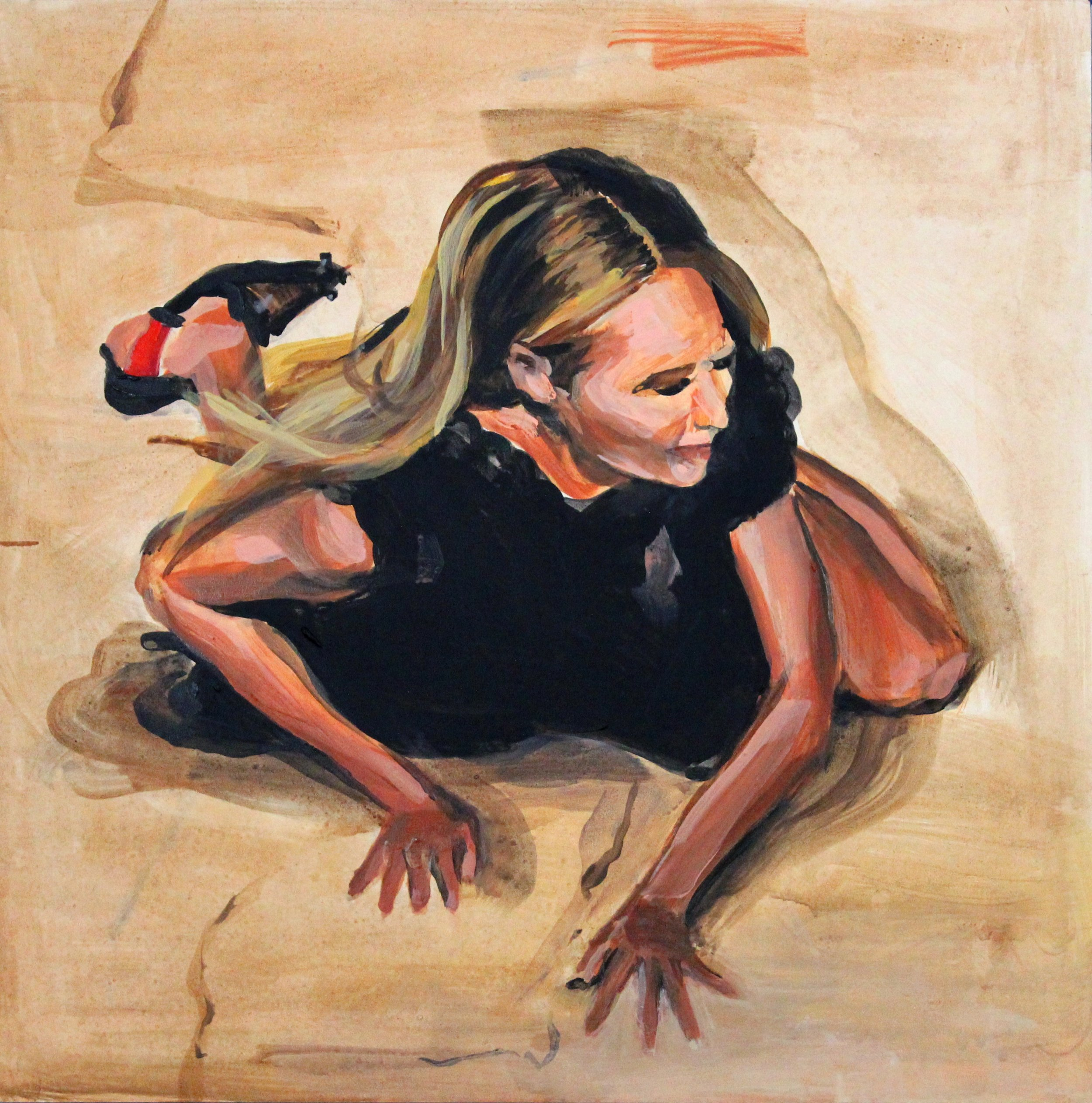 "Runway Model Falling no.13 (Candice Swanepoel during Givenchy)   12"" x 12"" acrylic on panel"