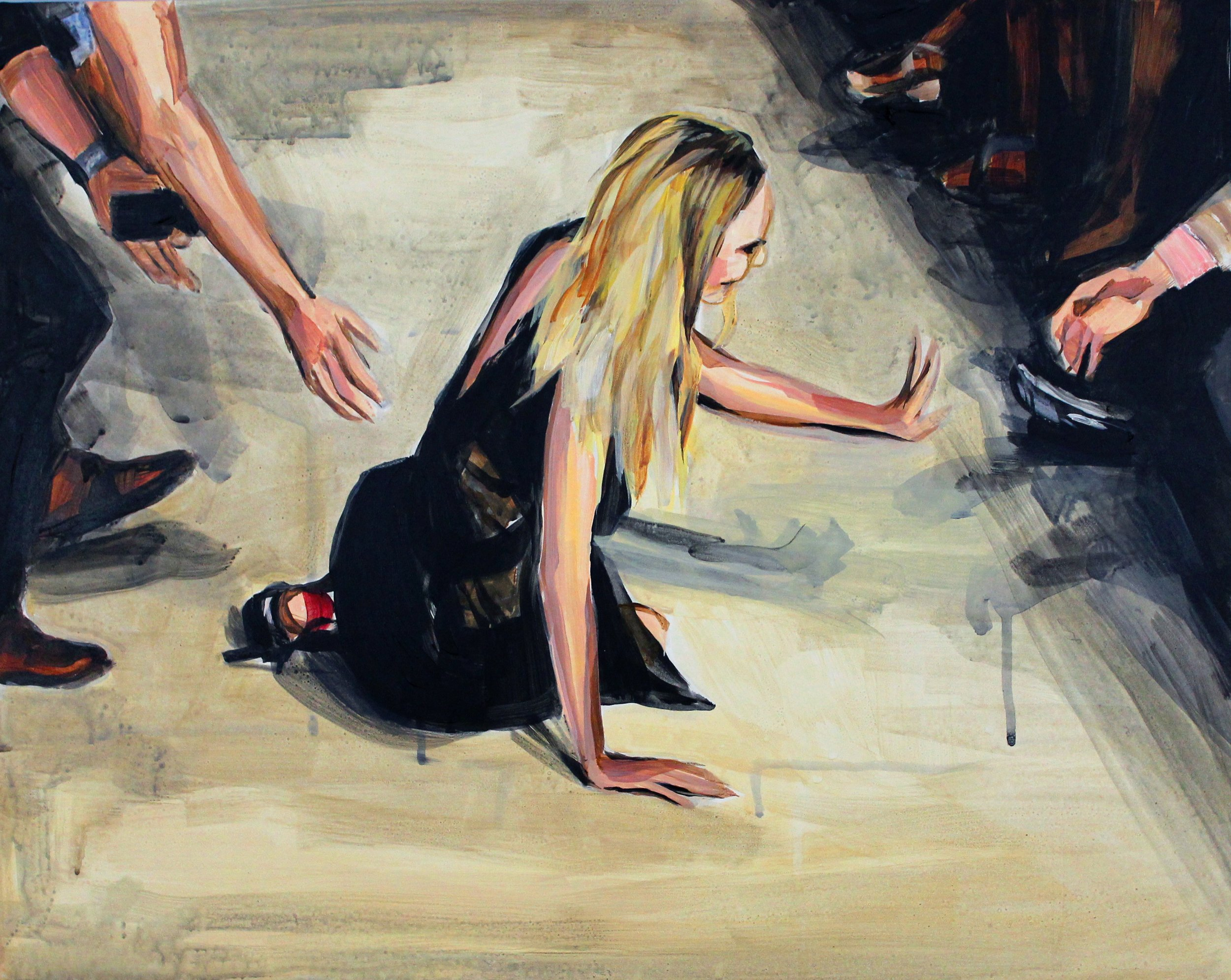 "Runway Model Falling no.14 (Candice Swanepoel during Givenchy)   16"" x 20"" acrylic on panel"