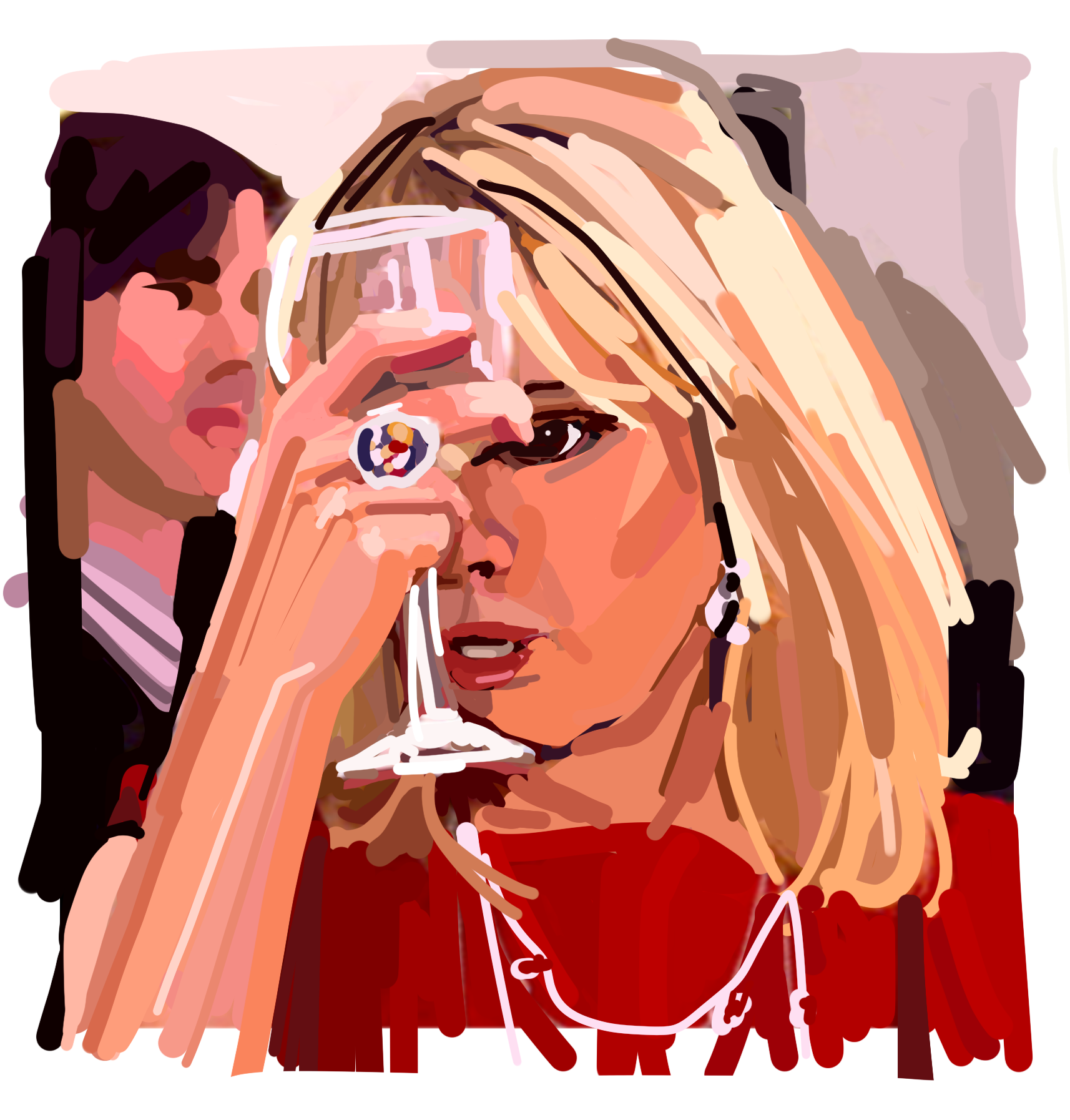 Laura Collins Ramona Singer Pretending a Glass of Pinot is a Light Bulb on her Head.png
