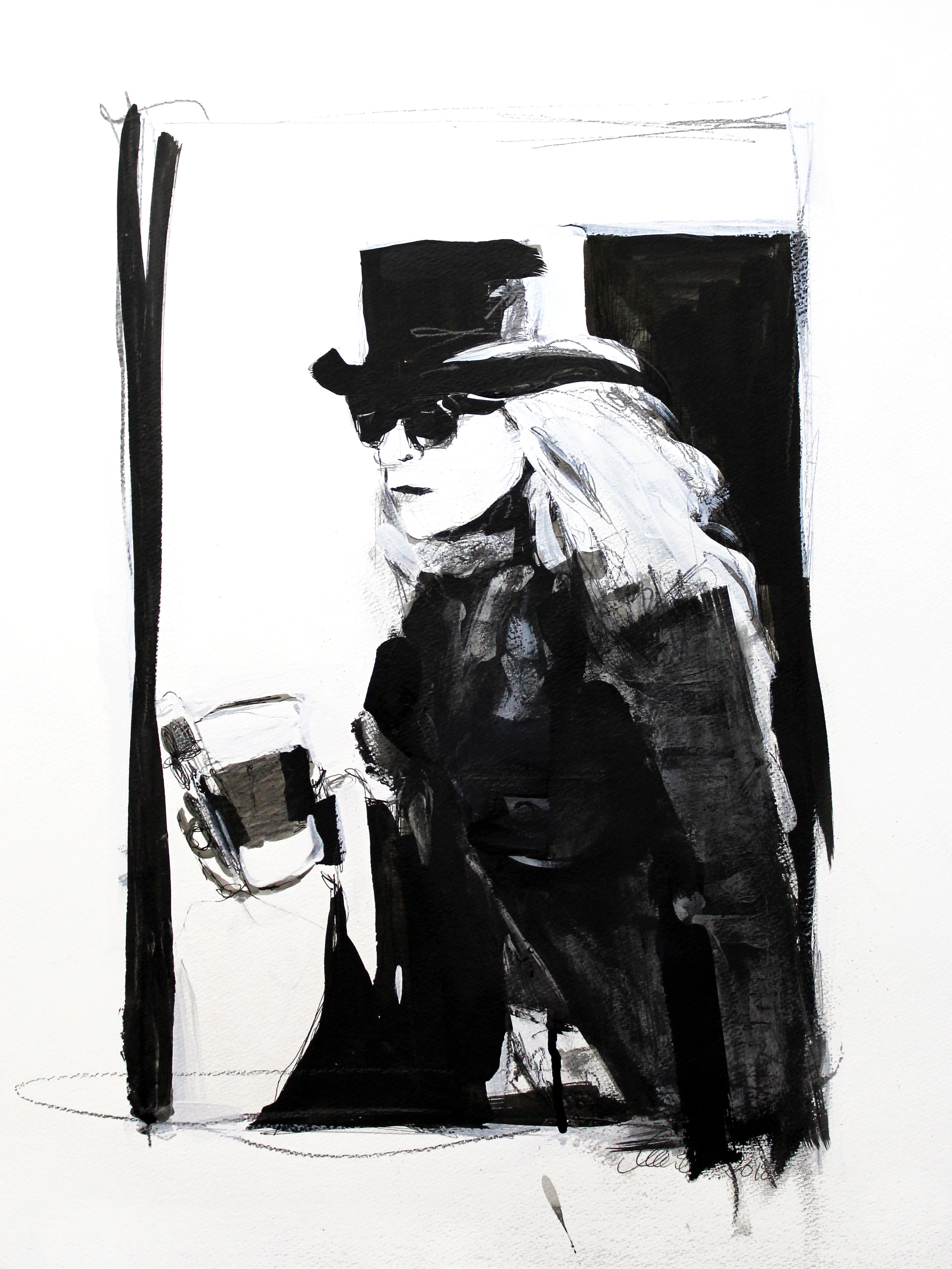 Laura Collins An Olsen Twin With Coffee no.13 18x24 Mixed Media on Paper 2018.png