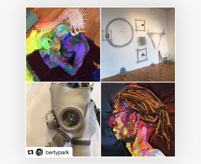 """Tomorrow (Thursday, April 26th) is the final closing reception for, """"How We Sit In Rooms"""" 6pm-8pm. Come see @bertypark 's keen curatorial eye for the taut thread between mine and @nate.actual 's work. She certainty knows how to start a conversation in the students.  It has been an absolute pleasure to be in-residence this past month at @brantgallery (3rd floor in South Building at @massartboston .) Thank you Loretta, Josh, Nate, the Foundation students, the professors, former students, my Soft Sculpture students, and my grad family! You are my community and I feel your generosity!  #brantgallery #nathanheilman #janetlorenhill #bostonartist #conversation #throughart #visualhistory #sculpture #painting #installationart"""
