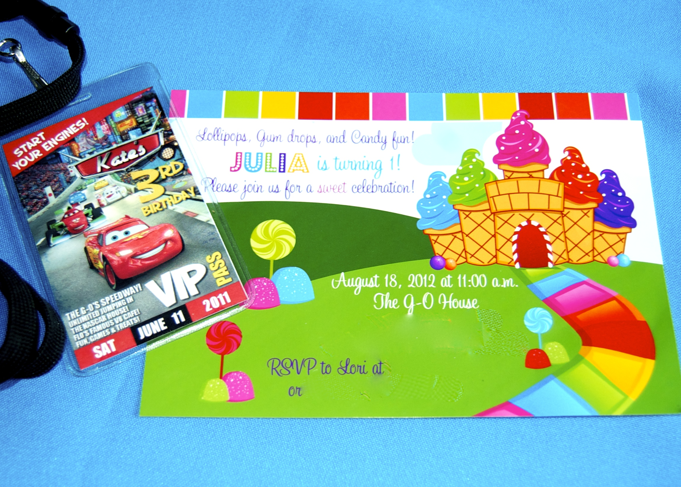 Cars Party Invite from thatpartygirl shop and Candyland Party Invite from the  PrettyPartyCreations  shop, both on ETSY.