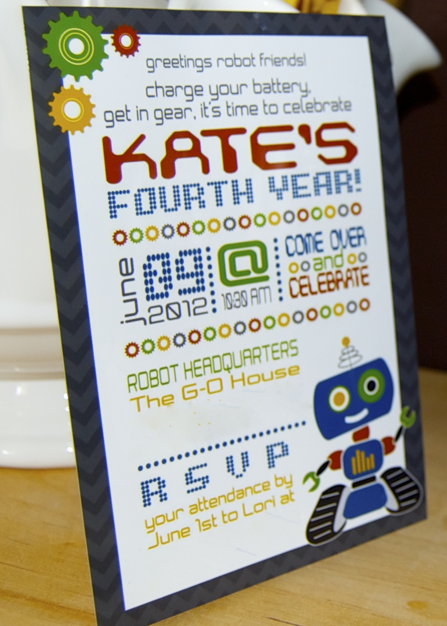 Robot Party Invite from the  BluGrass  shop on ETSY.