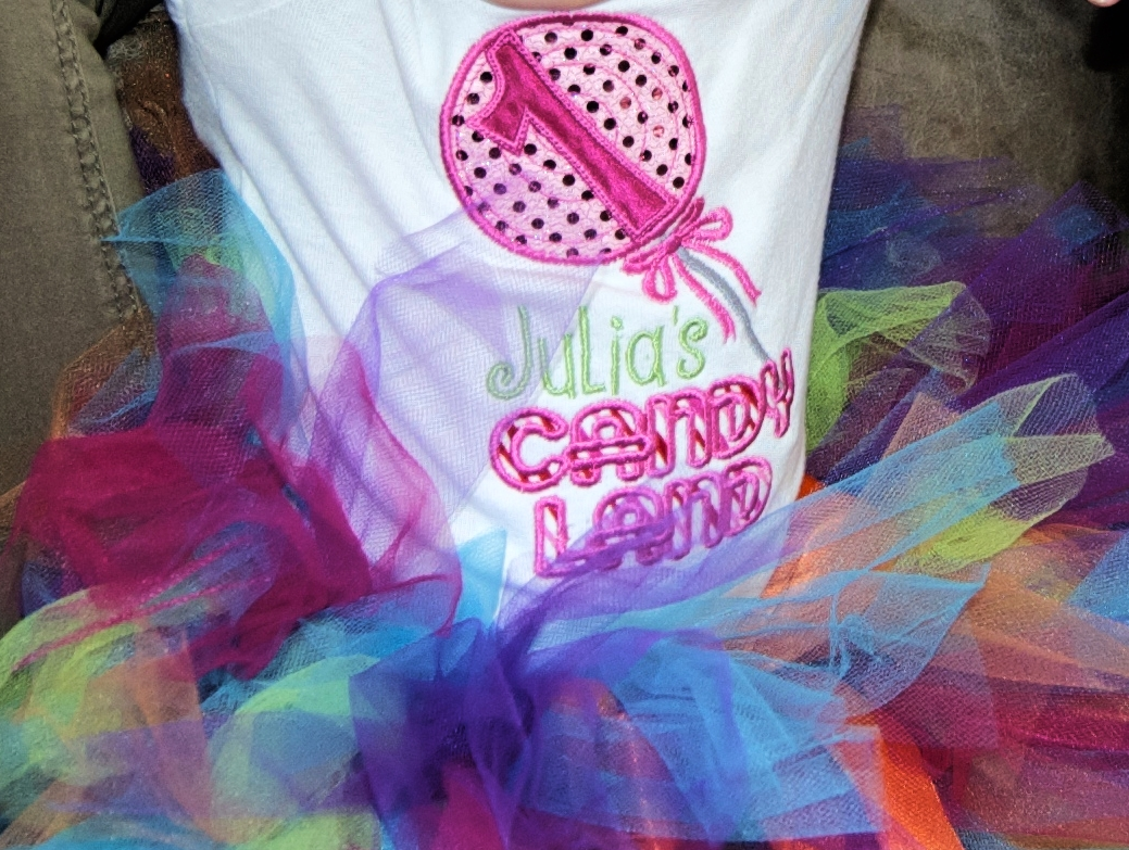 I ordered this adorable personalized shirt from  MyCamillesCreations  on ETSY for the  Candyland Party .