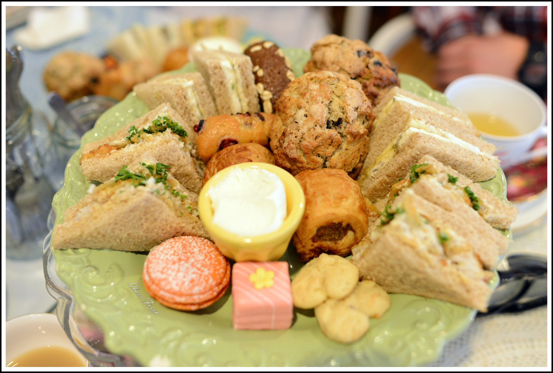 The tea sandwiches were delicious! I especially loved the salmon & dill, curry, and honey lavender cream. This was one of the many pastry tiers served!