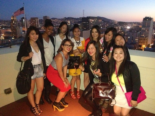 having fun! enjoying the city view from the Clift Hotel.