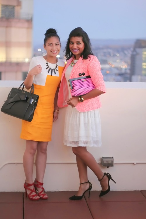 really connected with the amazing  Dev  ! We had so much in common! from our bright colorful ensembles down to our Kate purses! click to check out her blog! Photo Cred: Jia of  Catwalk Chic