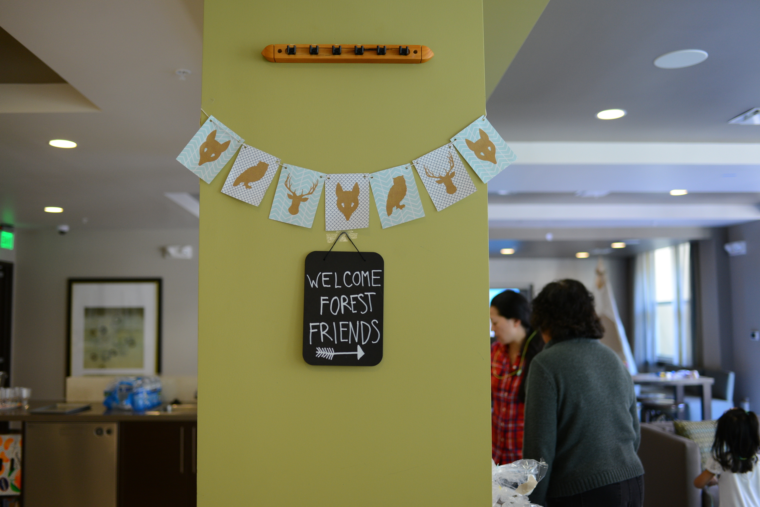 fun print out banners tied together with simple string.  The small chalkboard sign was a steal at Michael's. Be sure to purchase liquid chalk markers!