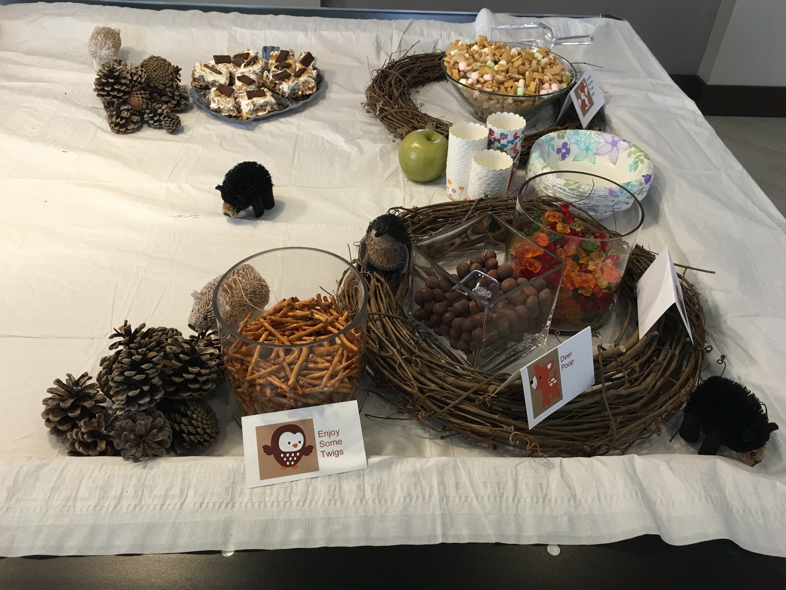 fun woodland snacks accented with wreaths (my brother's idea! he styled it great)