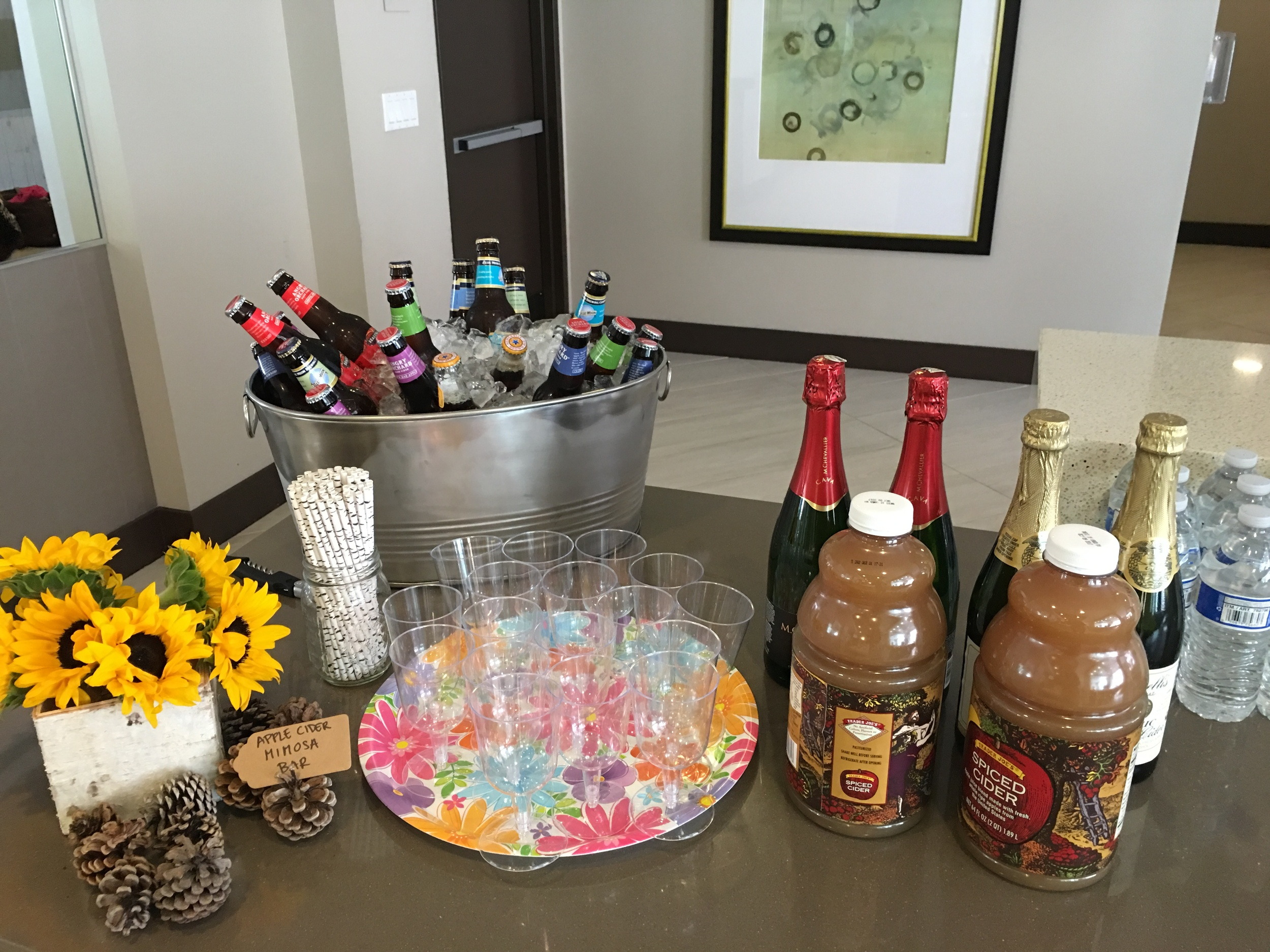 Fall Angry Orchard Ciders, and Apple Cider Mimosas for our mini bar!