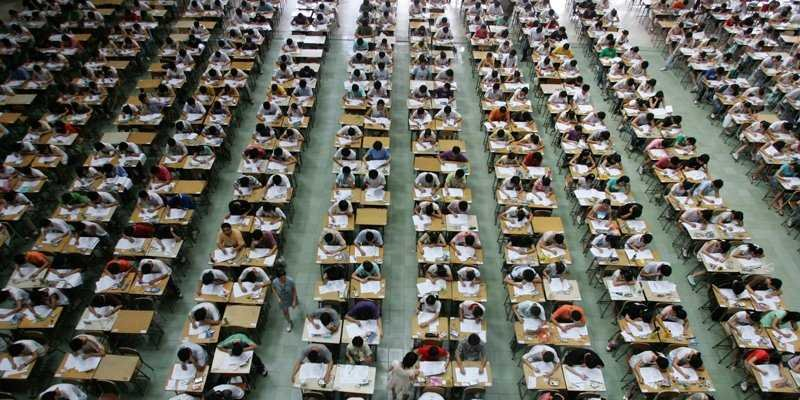 "Nearly 9.8 million Chinese high school students took the National College Entrance Exam, called gaokao, on June 7 and 8.    The emphasis on a two-day test has sparked criticism from some educators because of the incredible amount of pressure it places on students leading up to just one test. Gaokao has also been linked to China's rising suicide rate because of mounted pressure and poor test results.    Hengshui High School, the highest achieving secondary schools in gaokao over the last 14 years, has these as its two mottos:  ""Life is not a rehearsal, because you won't have the chance to live it all over again,"" and ""If you haven't died from hard work, just work harder."" At Hengshui, students study from 5:30 a.m. to 9:50 p.m., cannot have cell phones and are allowed just one day of vacation every month. Cameras are placed in each classroom to monitor students for laziness. These types of tactics are increasingly common at what many are calling gaokao-sweatshops — schools that exclusively prepare students for gaokao.    ""I usually spent three to five minutes eating dinner,"" a former student of Hengshui told China Daily.    Needless to say, the stakes are insanely high.     The Ministry of Education reported that students are competing for 6.5 million vacancies in universities across the country, according to Xinhua News agency. Currently the test is divided into three main areas: Chinese, math, and English, though there are other more specialized tests, too. The country's education ministry recently announced plans to reduce emphasis on English and instead bolster Chinese in the near future."