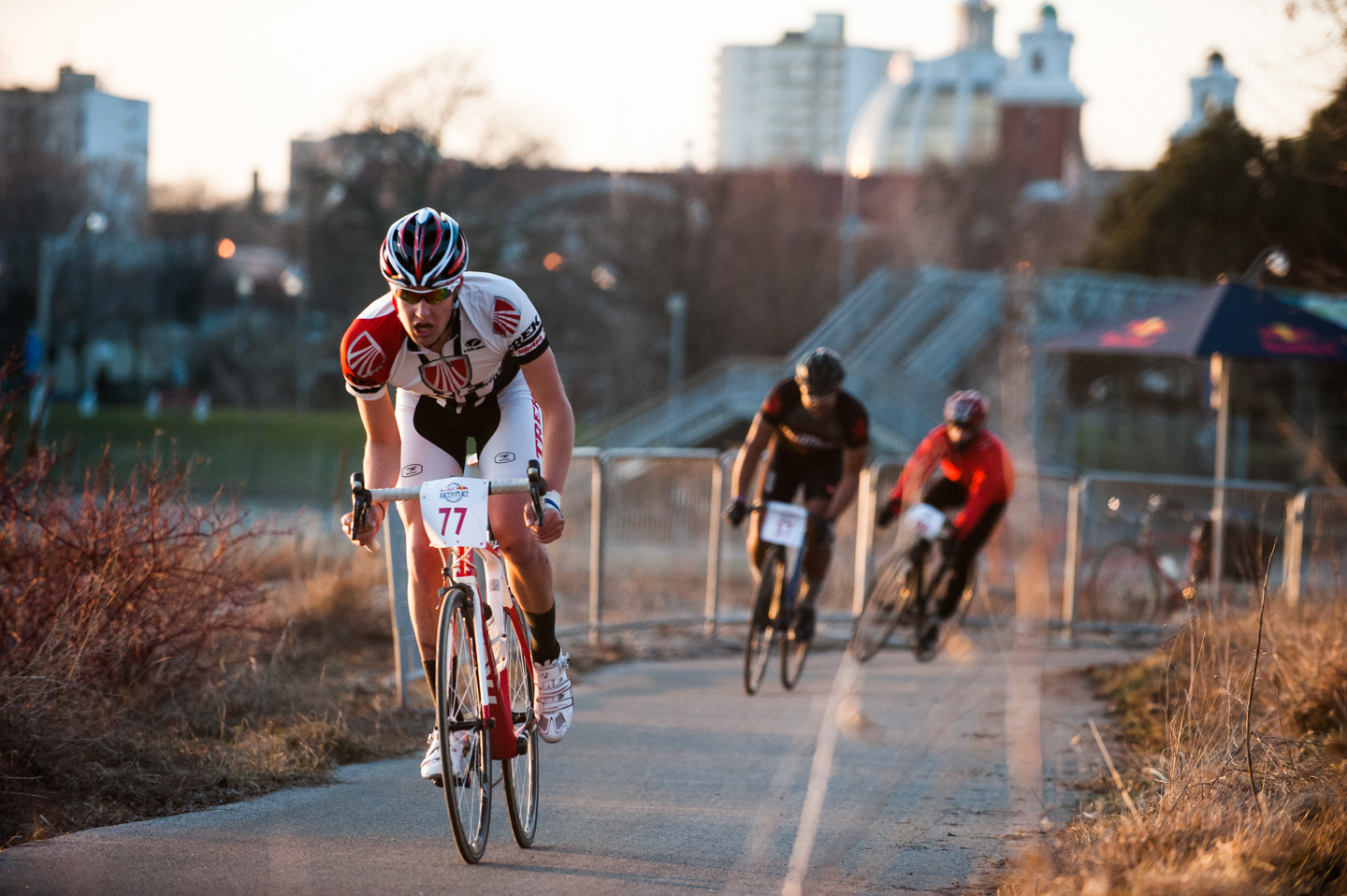 Athlete Chris Fruetel races at the Red Bull Race the Place in Toronto, Canada on April the 19th, 2014