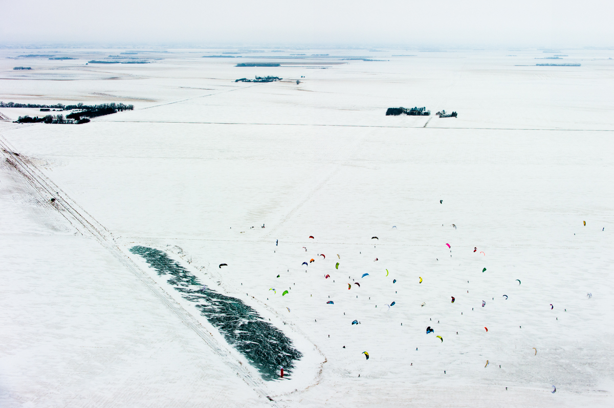 Competitors perform in Red Bull Kite Farm on a field in Regina, Canada on February 15th, 2015