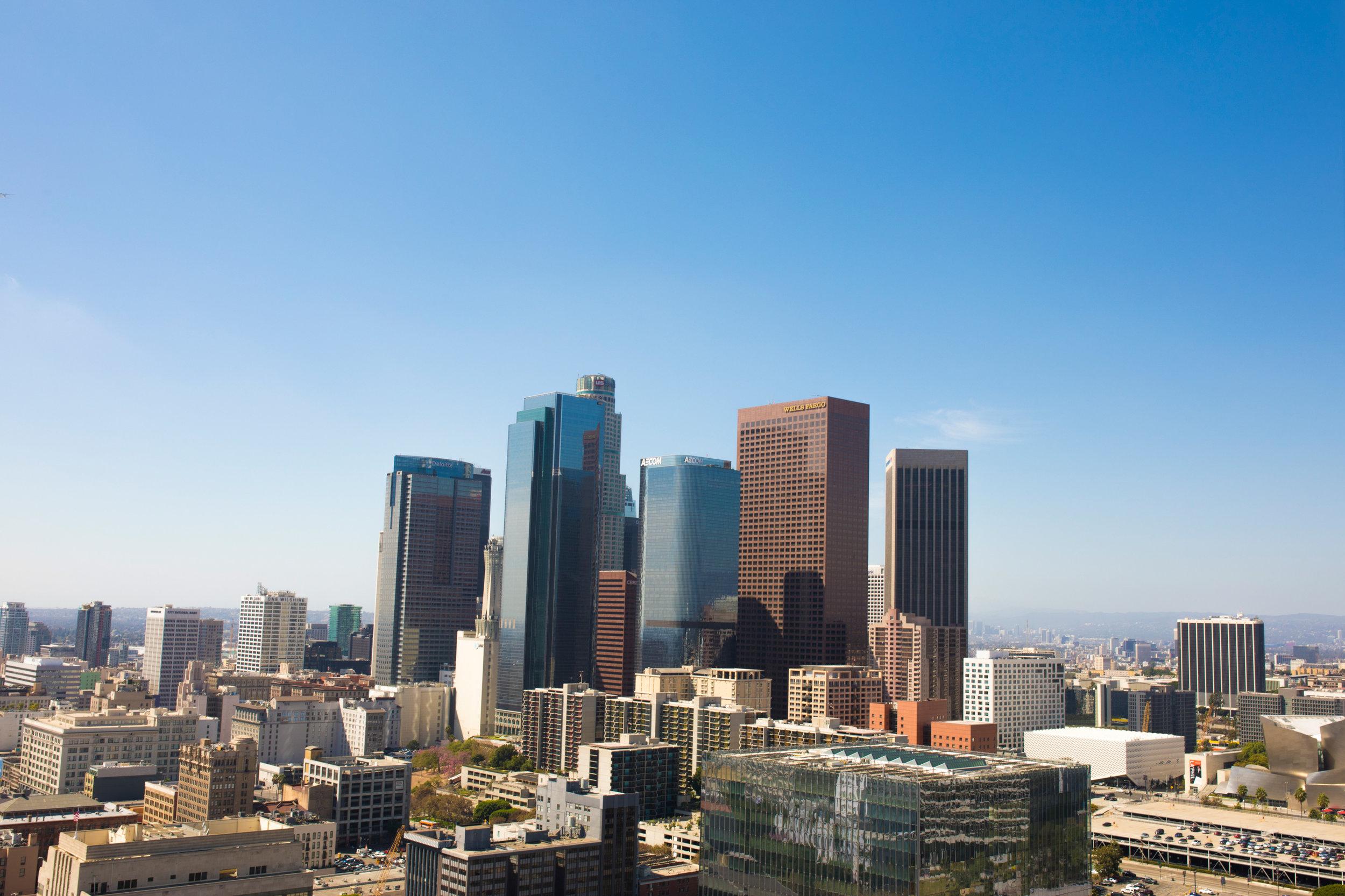 Downtown LA cityscape view photography
