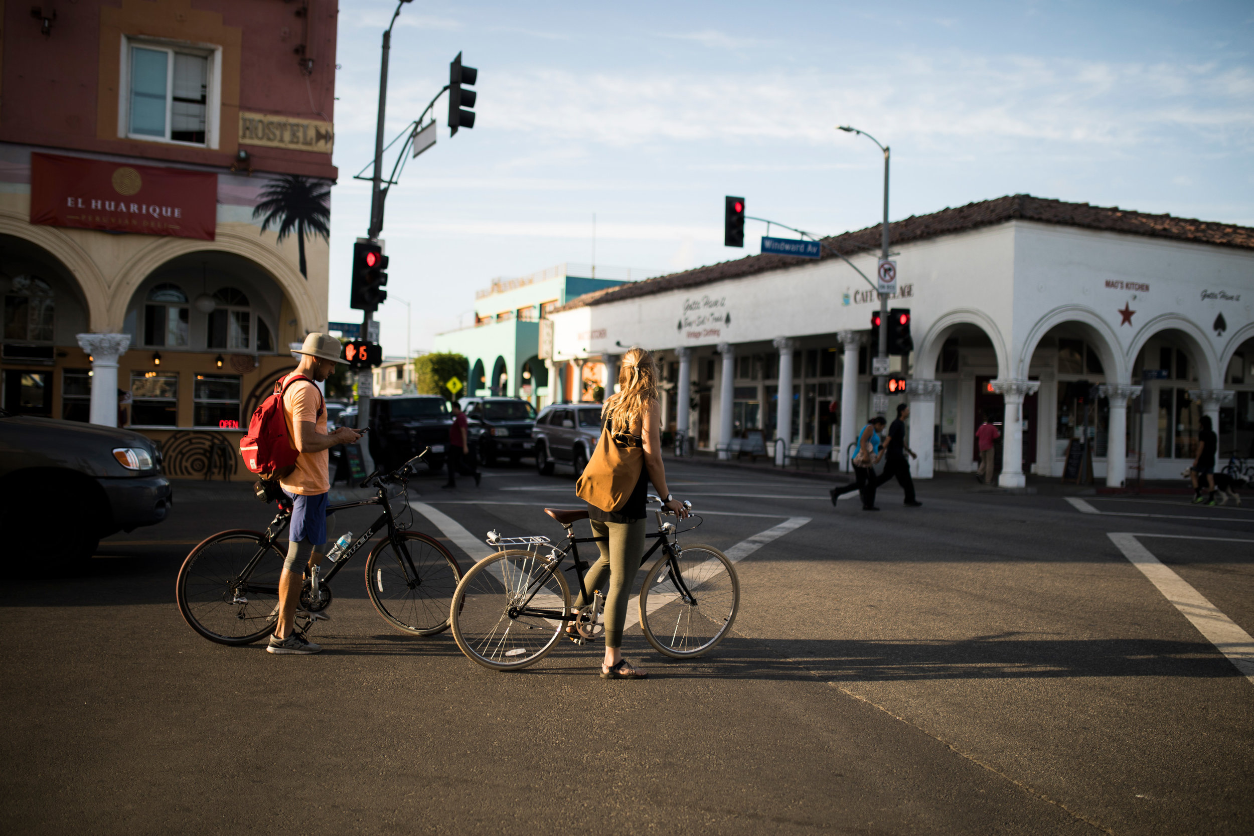 Cyclists in Venice Beach golden hour photography