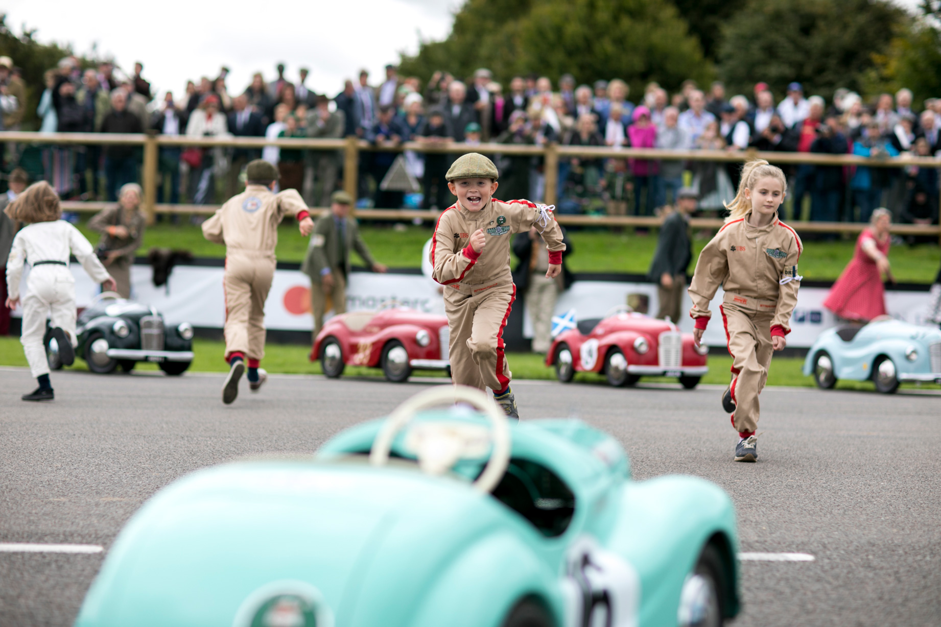 le mans start for the the peddle car race at Goodwood