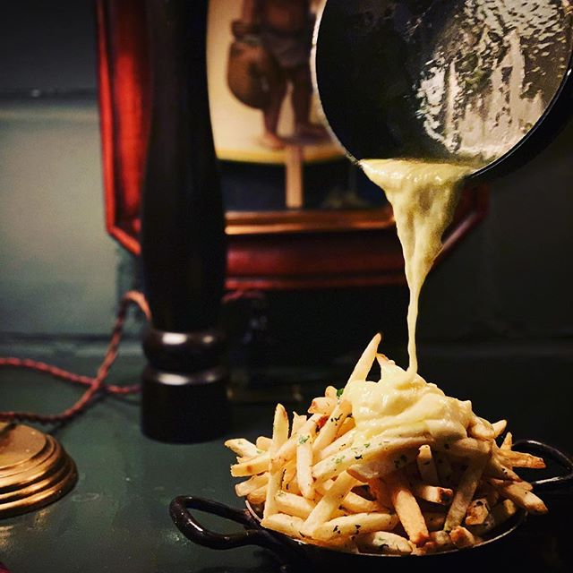 #lambwestonpartner - Fancy Cheese Fries? Yes Please! Super oozy, minimally funky raclette melted over super crispy - PERFECT - @lambweston4chefs fries! Gotta love @marcelatlanta late night recipe testing! #potatopossibilities