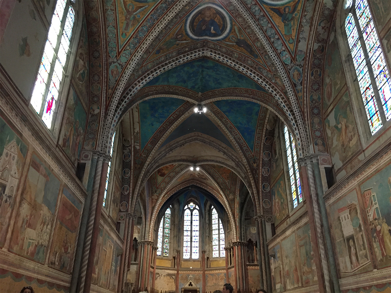 The central nave of Basilica of St Francis of Assisi, Italy. 1228 AD.