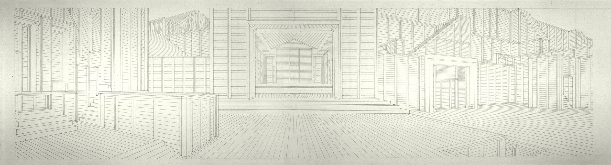 Images 1  Altar, Temple, Mosque 2005. Charcoal on canvas - 3 x 12 feet.