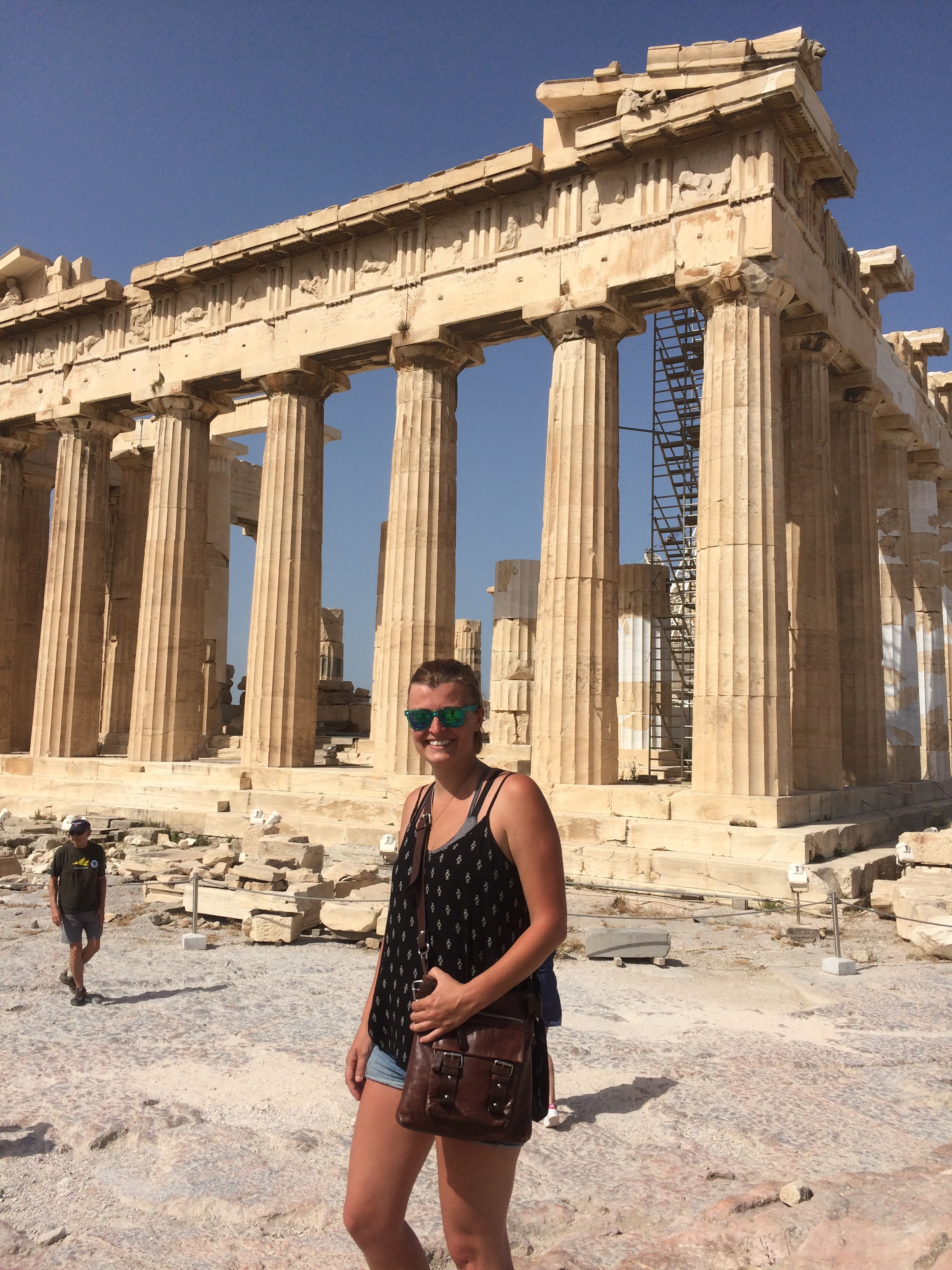 View of Sara at Pantheon, Acropolis, Athens, Greece, The World