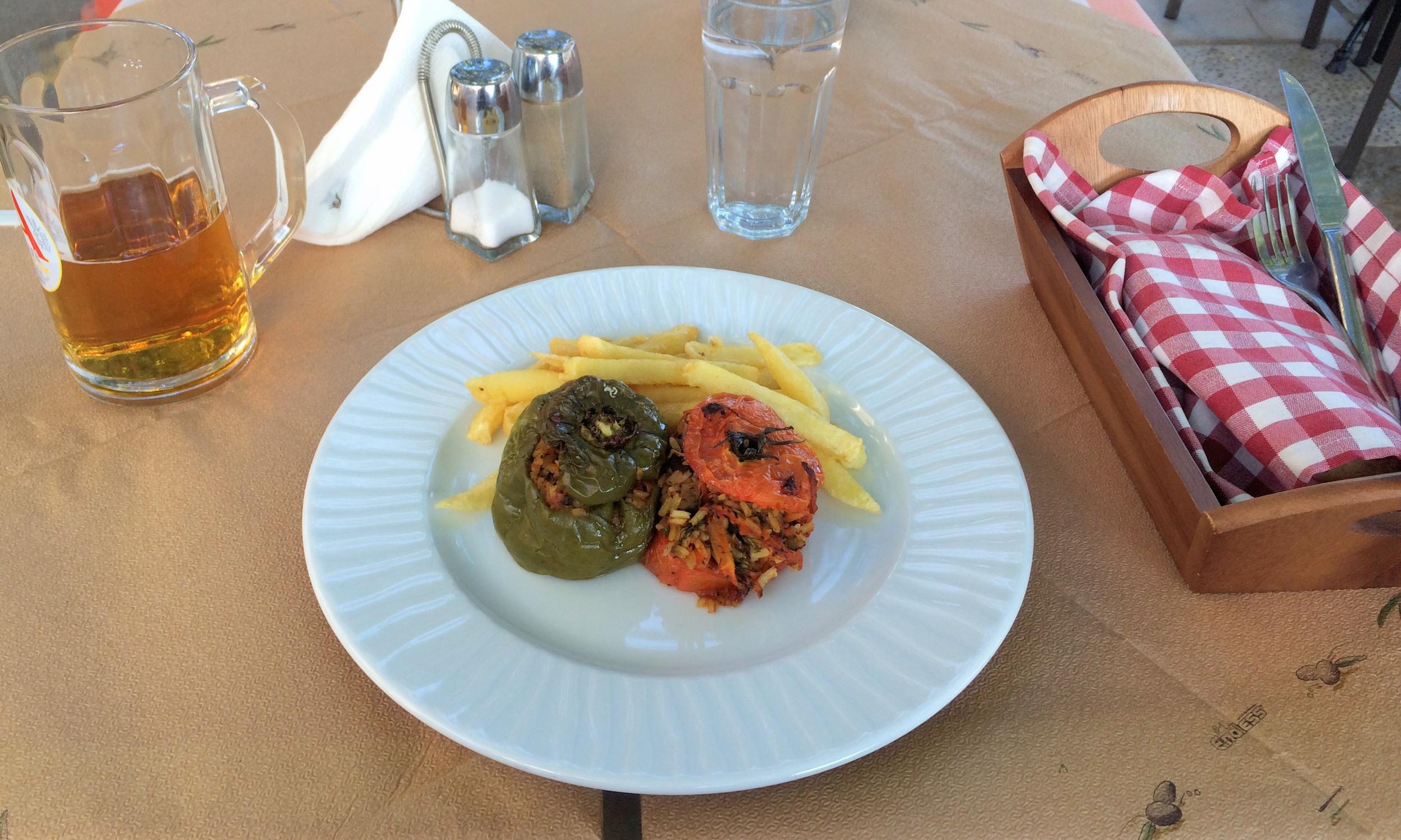 Stuffed tomato and pepper.