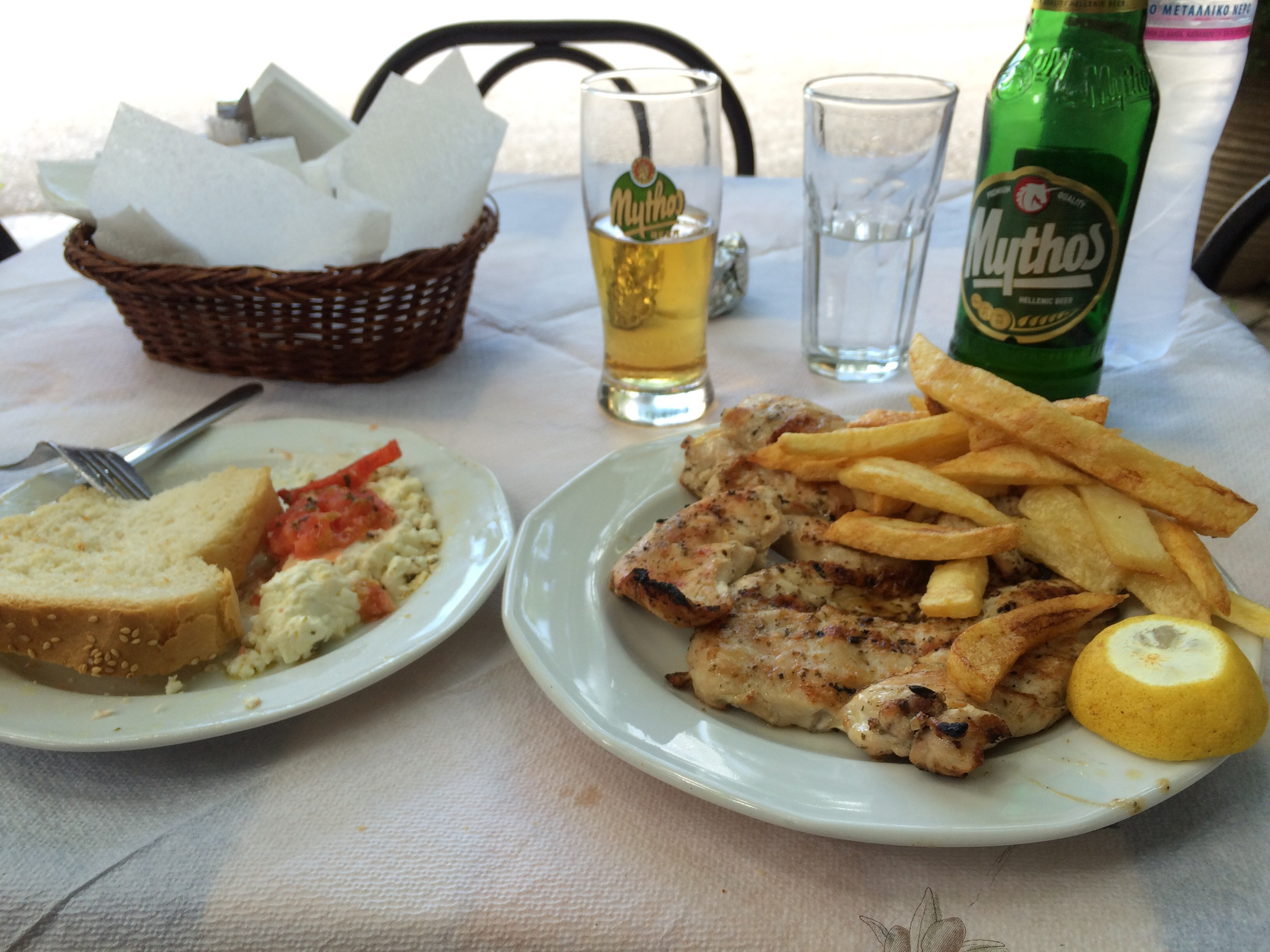 Grilled feta, grilled chicken and Mythos, my fav.