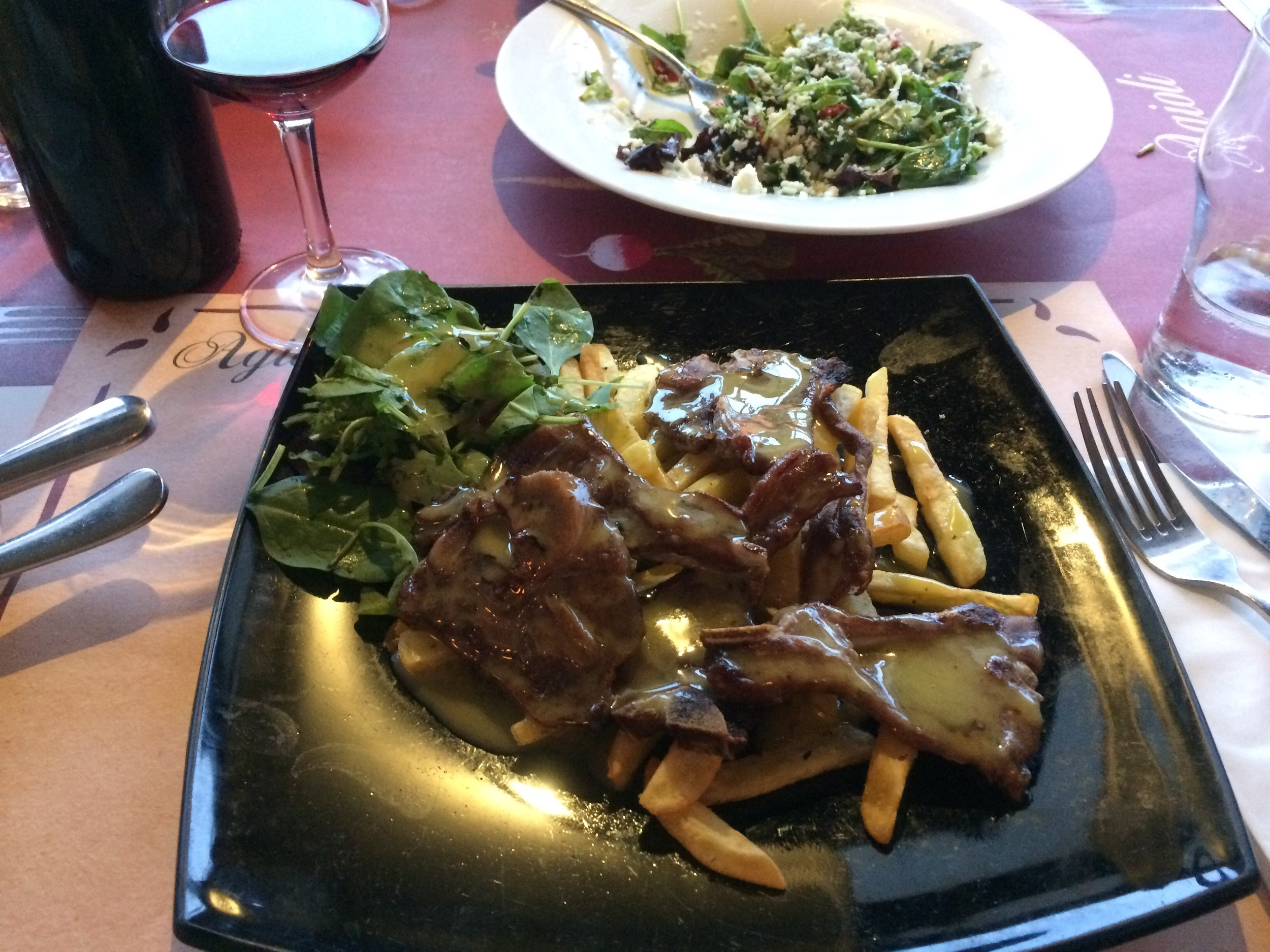 Lamb, of course over a bed of chips. My last supper.
