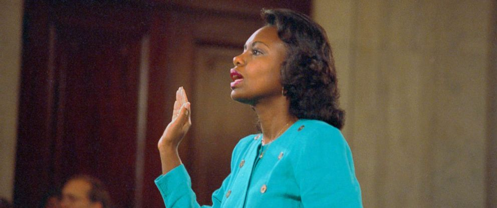 Professor Anita Hill testifies before the Judiciary Committee in 1991 regarding the confirmation of Judge Clarence Thomas    Image: ARNIE SACHS/DPA/AP