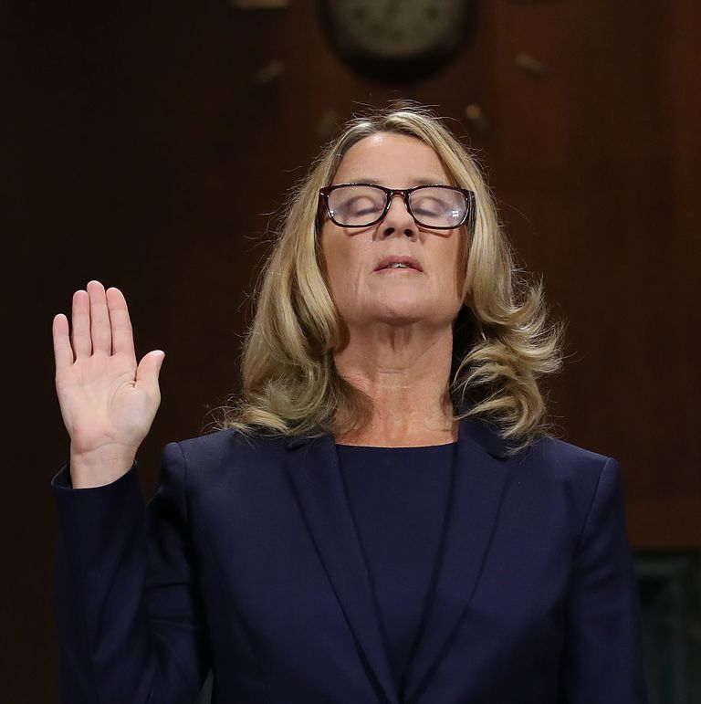 Dr. Christine Blasey Ford in sworn in to testify in front of the Judiciary Committee regarding the confirmation of Brett Kavanaugh on September 27th, 2018.    Image: GETTY