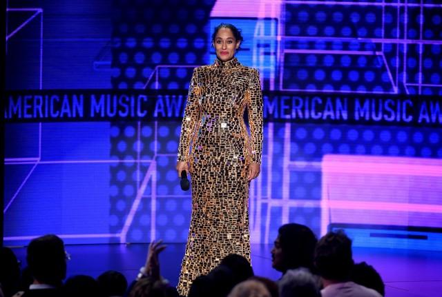 PHOTO: GETTY  Tracee Ellis Ross on Twitter: GOLDEN GIRL CD Greene gold sequin dress @AMAs  #AMAs