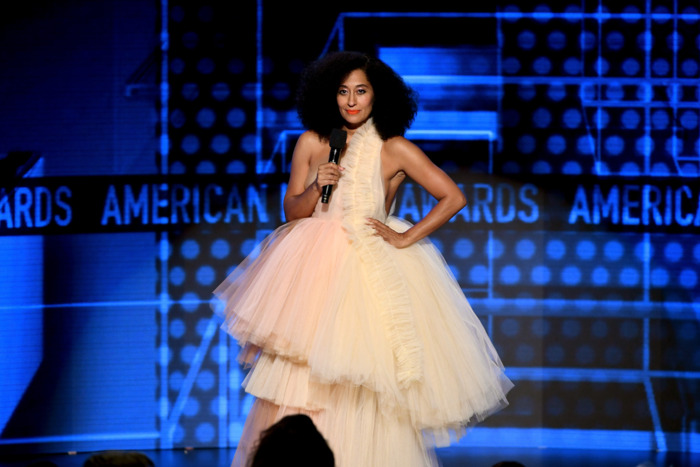 PHOTO: GETTY  Tracee Ellis Ross on Twitter : POWER TULLE  @OffWht  dress  @LouboutinWorld  pumps  @AMAs   #AMAs