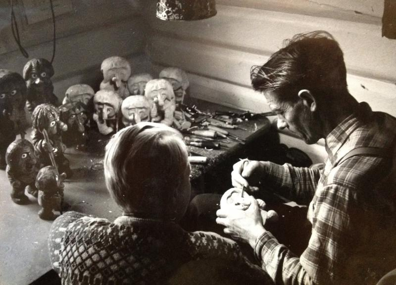 My late grandfather, Anton Sveen, carving trolls with my late father, Arnfinn Sveen, in the 1960s.