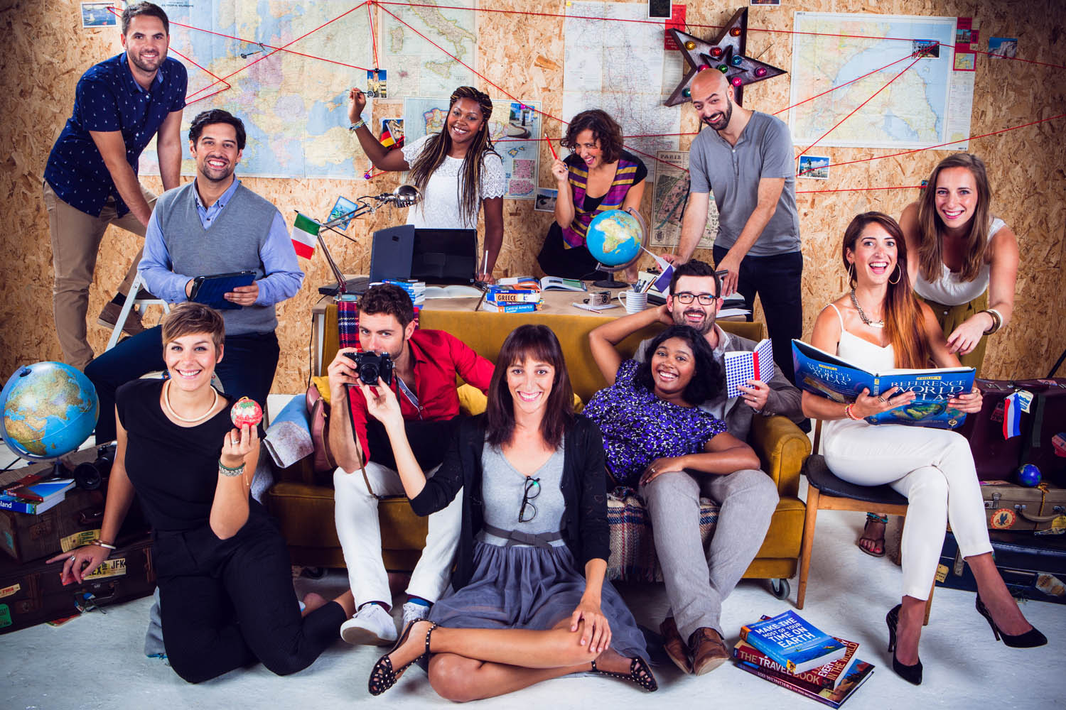 Another group photo for Expedia showing everyone as world travellers.