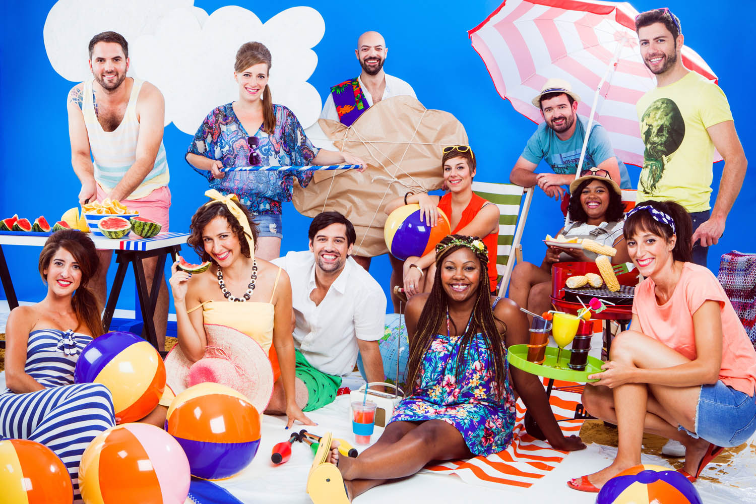 A beach barbeque themed group shot, also for Expedia.