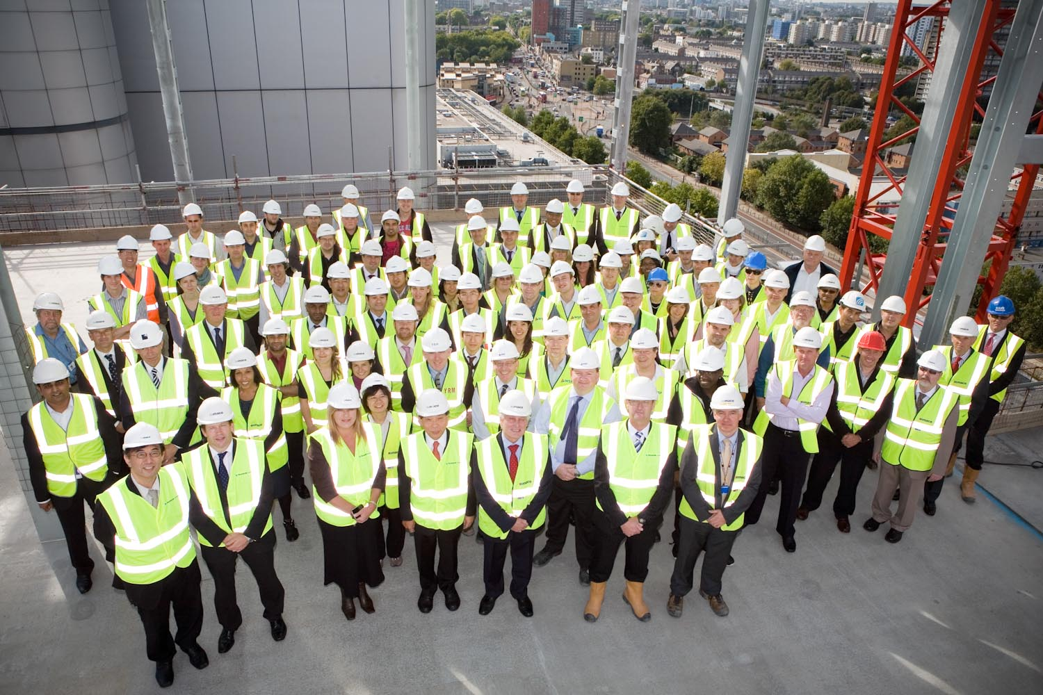 A group photo taken on top of a half finished skyscraper, for Mace.