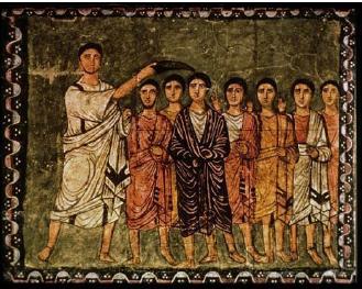 Samuel Anointing David, Dura-Europos Synagogue, 3c, National Museum of Damascus, Syria.